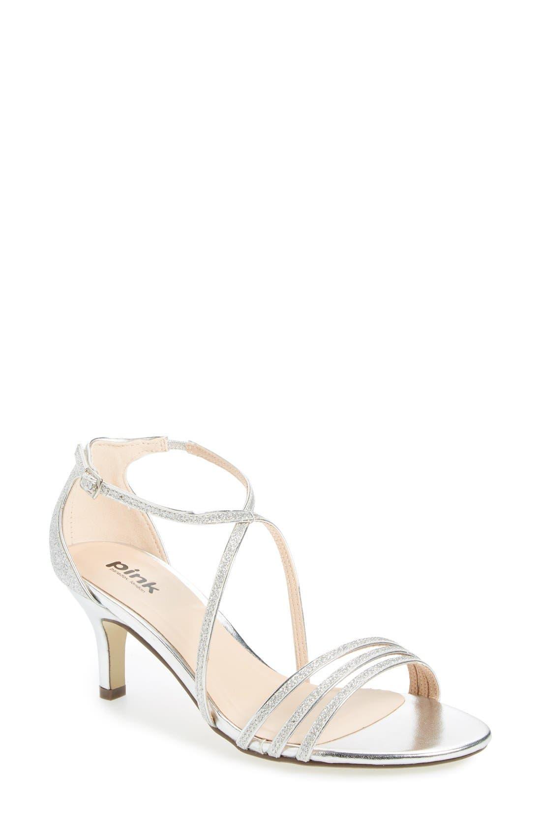 'Isla' Glitter Sandal,                         Main,                         color, Silver