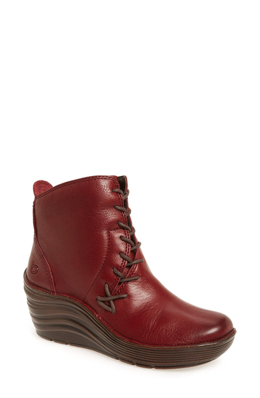 'Corset' Bootie,                             Main thumbnail 1, color,                             Russet Red Nubuck Leather
