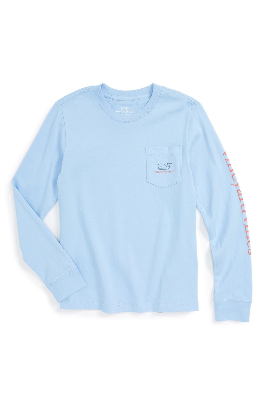 Vintage Whale Long Sleeve Pocket T-Shirt,                         Main,                         color, Cloud