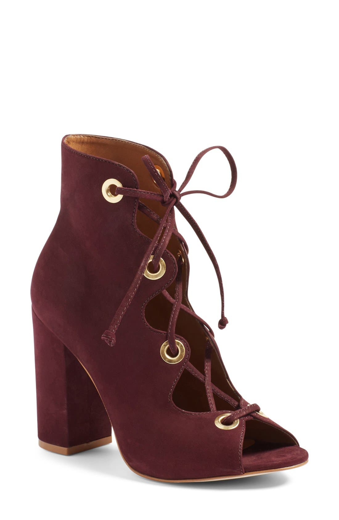 Alternate Image 1 Selected - Steve Madden 'Carusso' Lace-Up Peep Toe Bootie (Women)