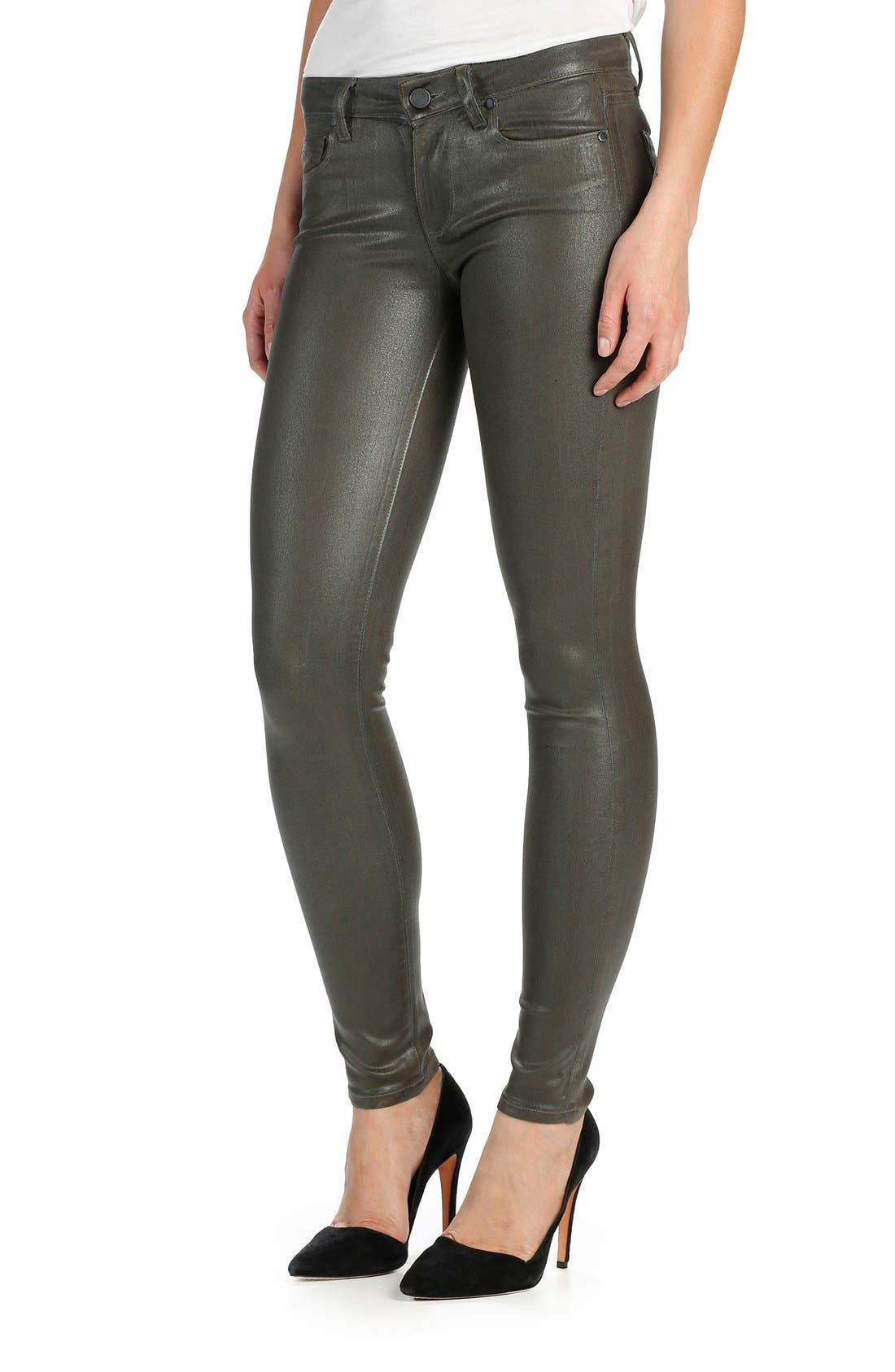 Transcend Verdugo Coated Ultra Skinny Jeans,                             Alternate thumbnail 3, color,                             Army Luxe Coating
