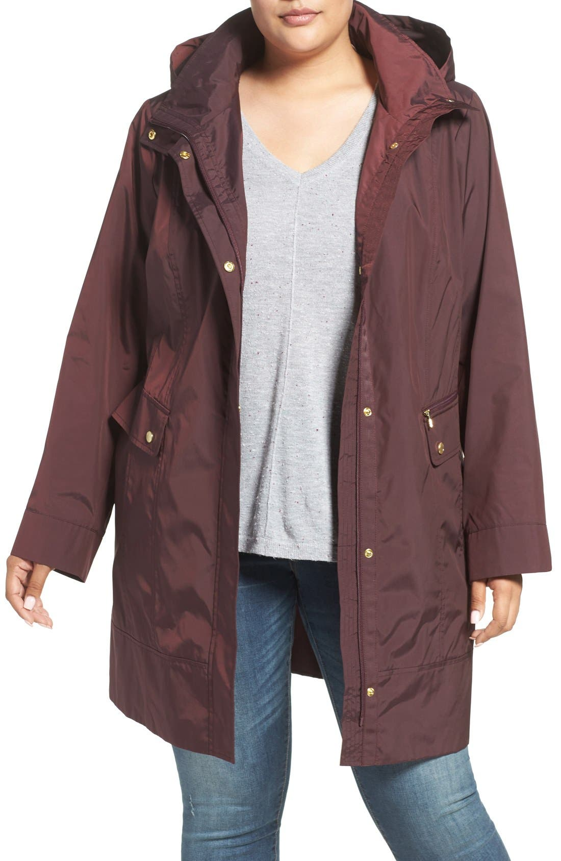 Cole Haan Water Resistant Rain Jacket,                         Main,                         color, Eggplant