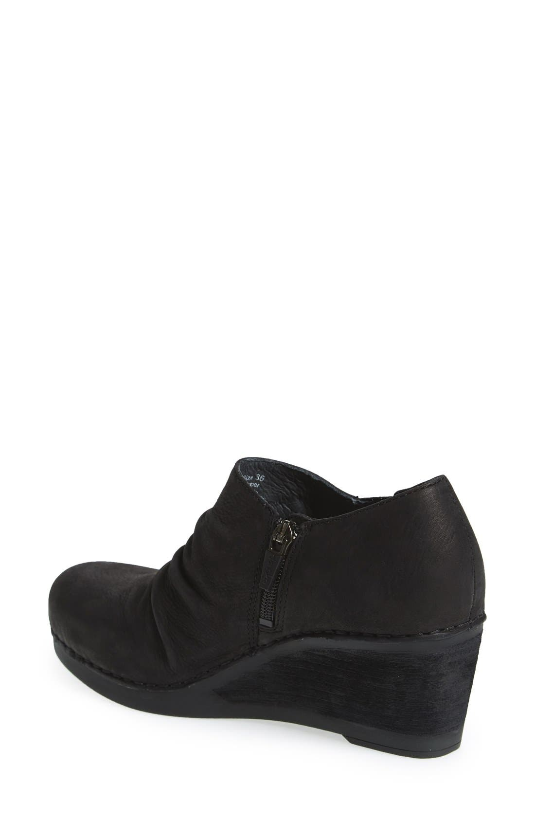 'Sheena' Slouchy Wedge Bootie,                             Alternate thumbnail 2, color,                             Black Nubuck Leather