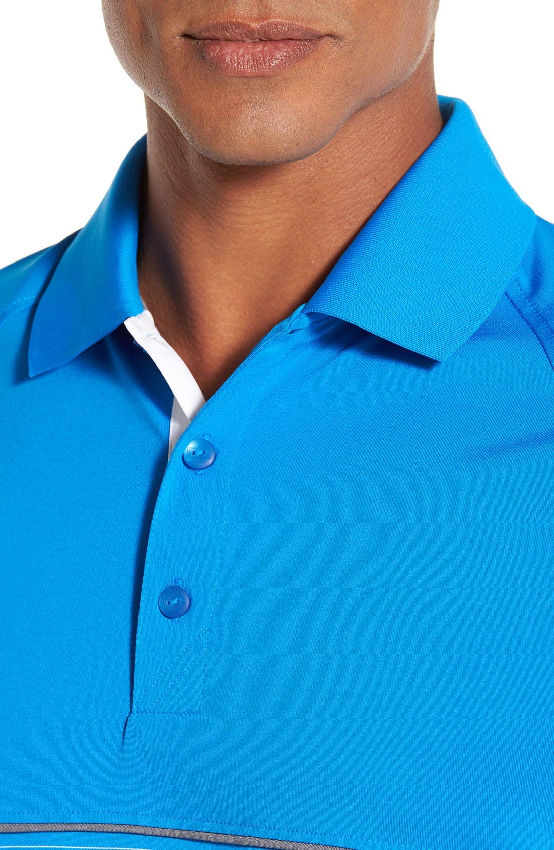 'Junction' Stripe DryTec Polo,                             Alternate thumbnail 4, color,                             Digital/ White