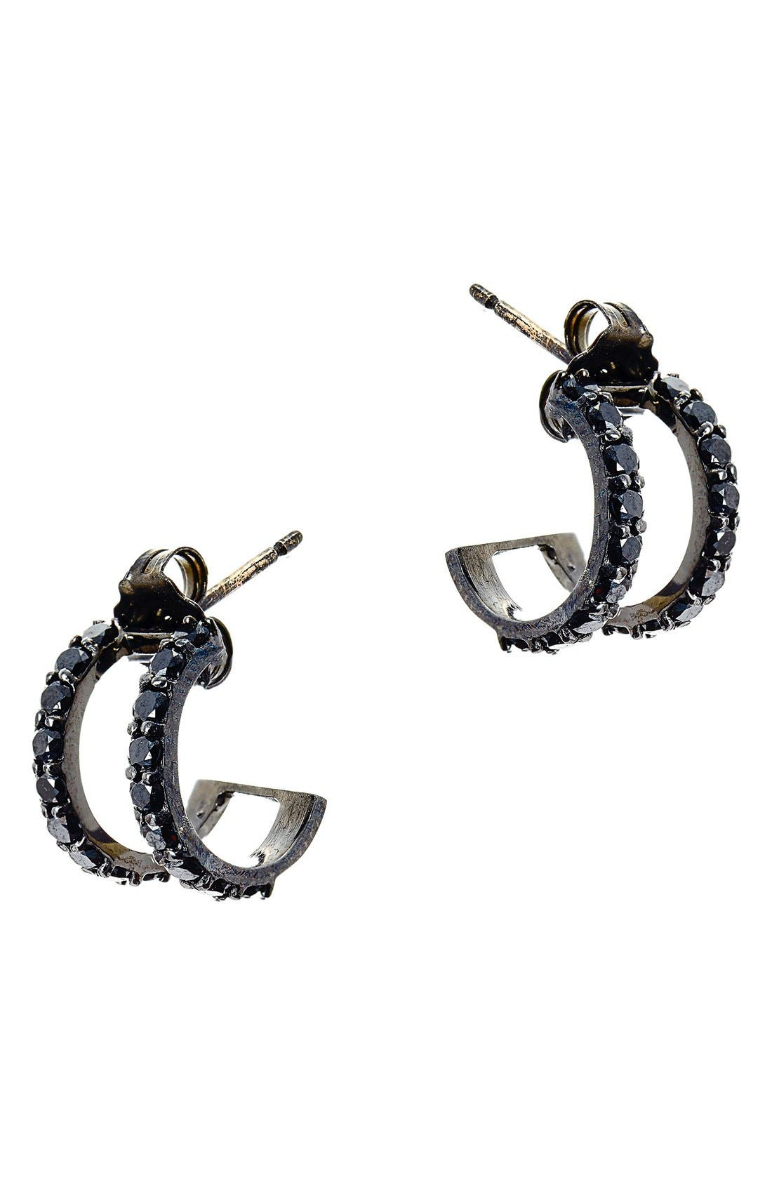 'Reckless' Hoop Earrings,                             Main thumbnail 1, color,                             Black