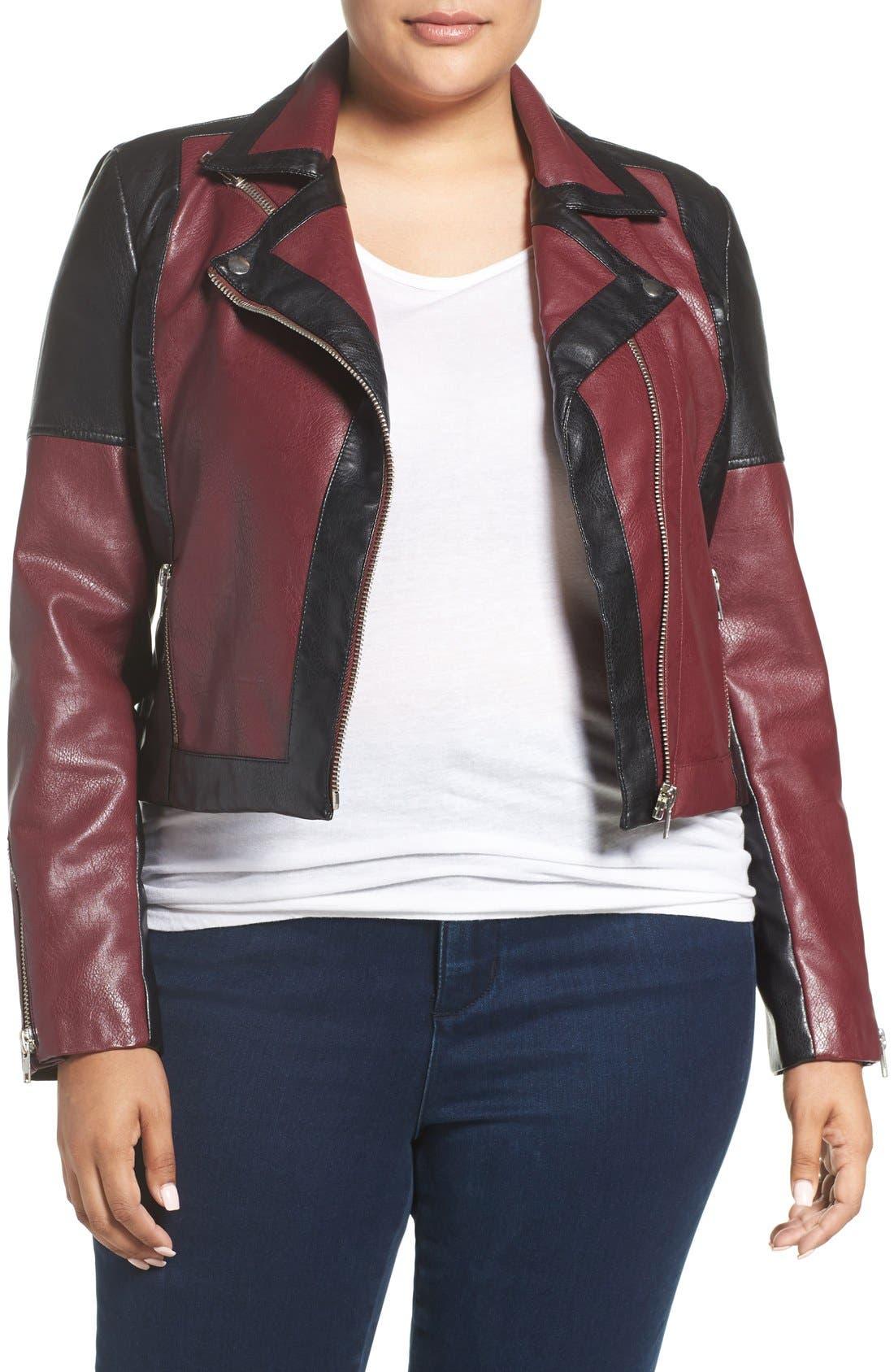 'Justine' Colorbock Faux Leather Jacket,                         Main,                         color, Tawny Port/ Black Combo
