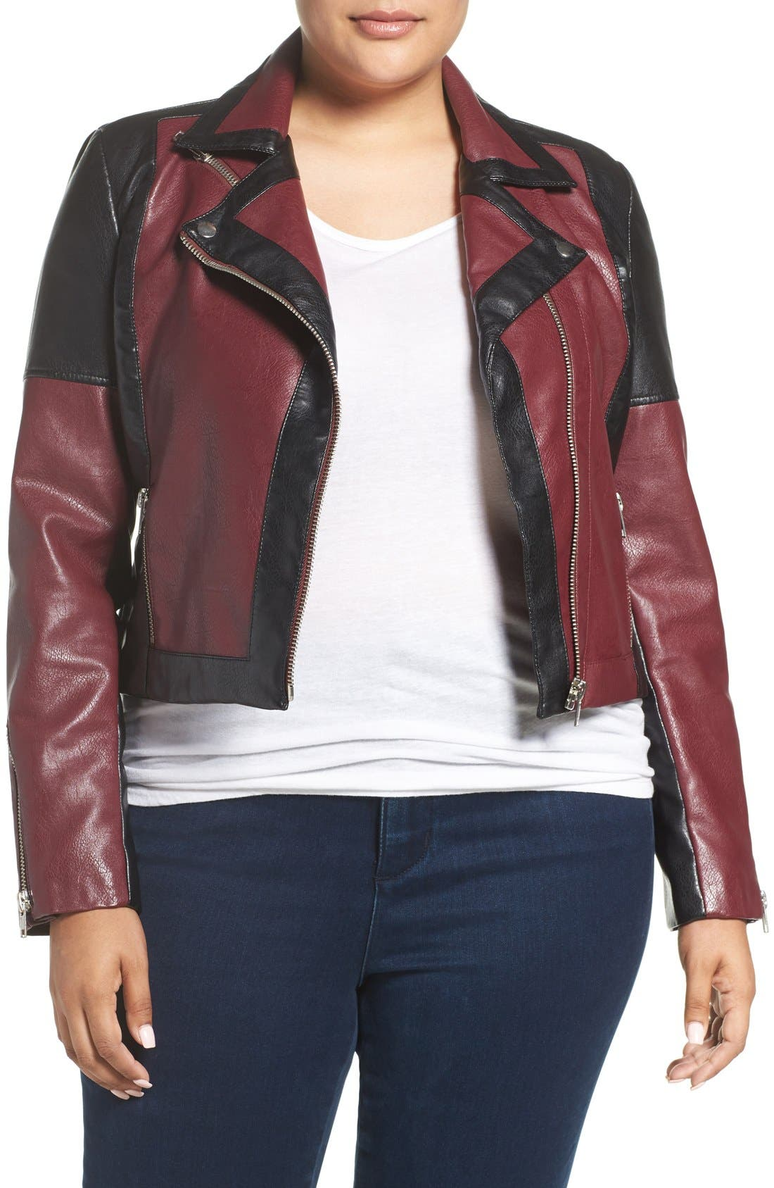 'Justine' Colorbock Faux Leather Jacket,                         Main,                         color, Tawny Port/ Black Combo