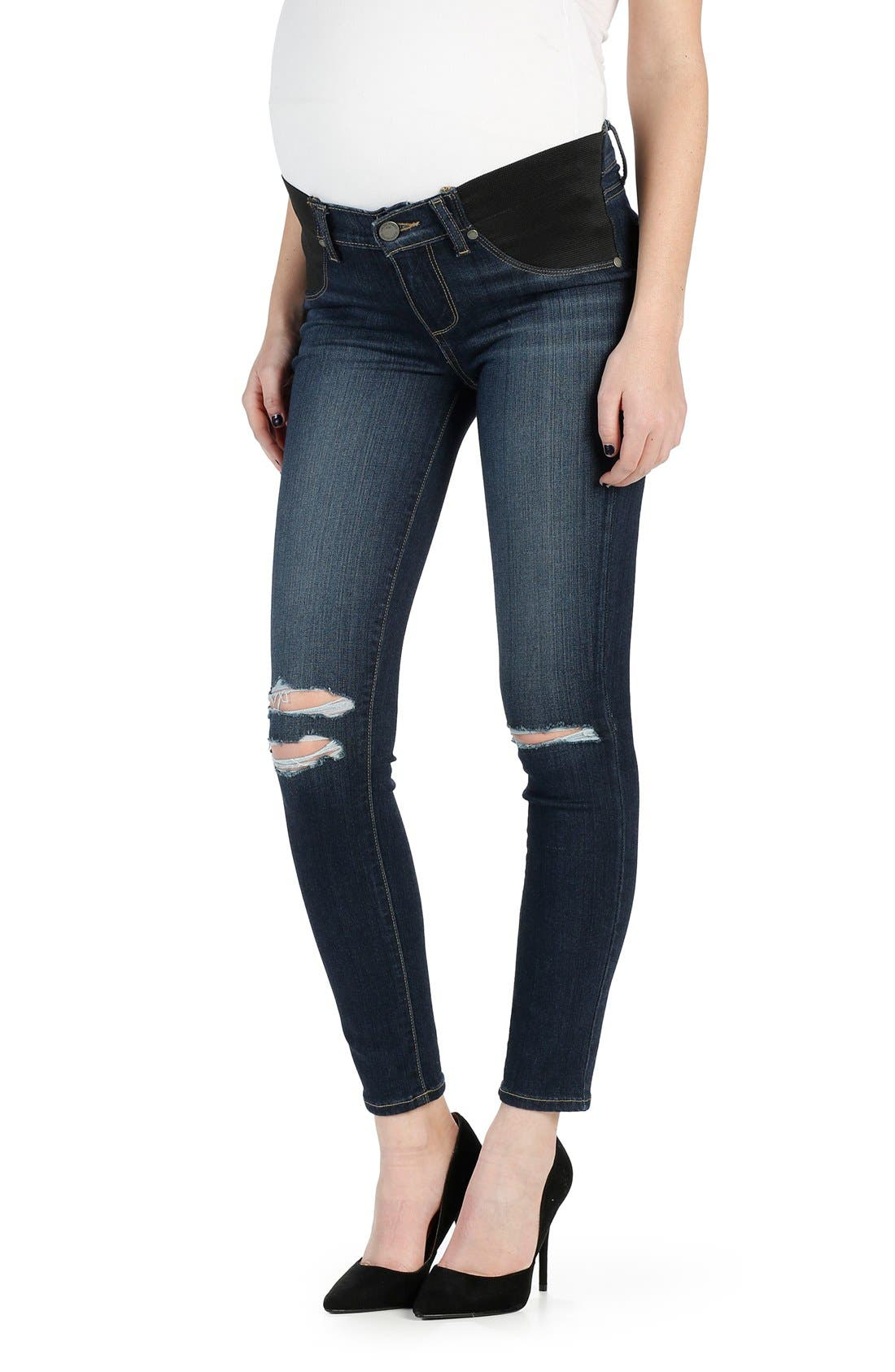 PAIGE Transcend - Verdugo Ripped Ankle Ultra Skinny Maternity Jeans (Nia Destructed)