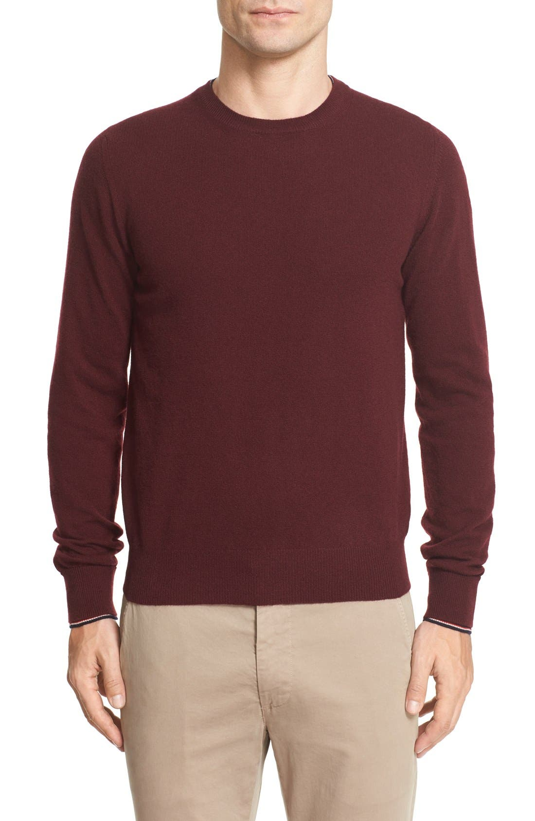 Tipped Wool Pullover,                         Main,                         color, Burgundy