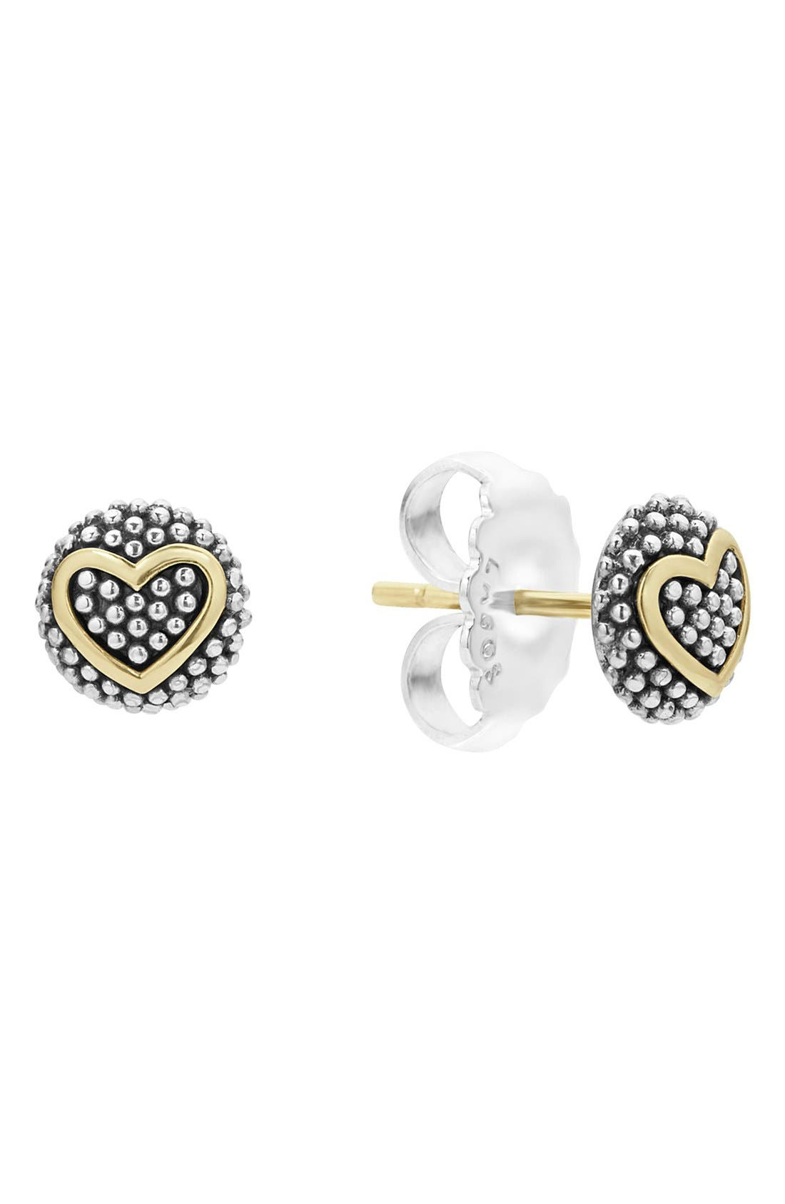 Alternate Image 2  - LAGOS 'Caviar' Heart Stud Earrings