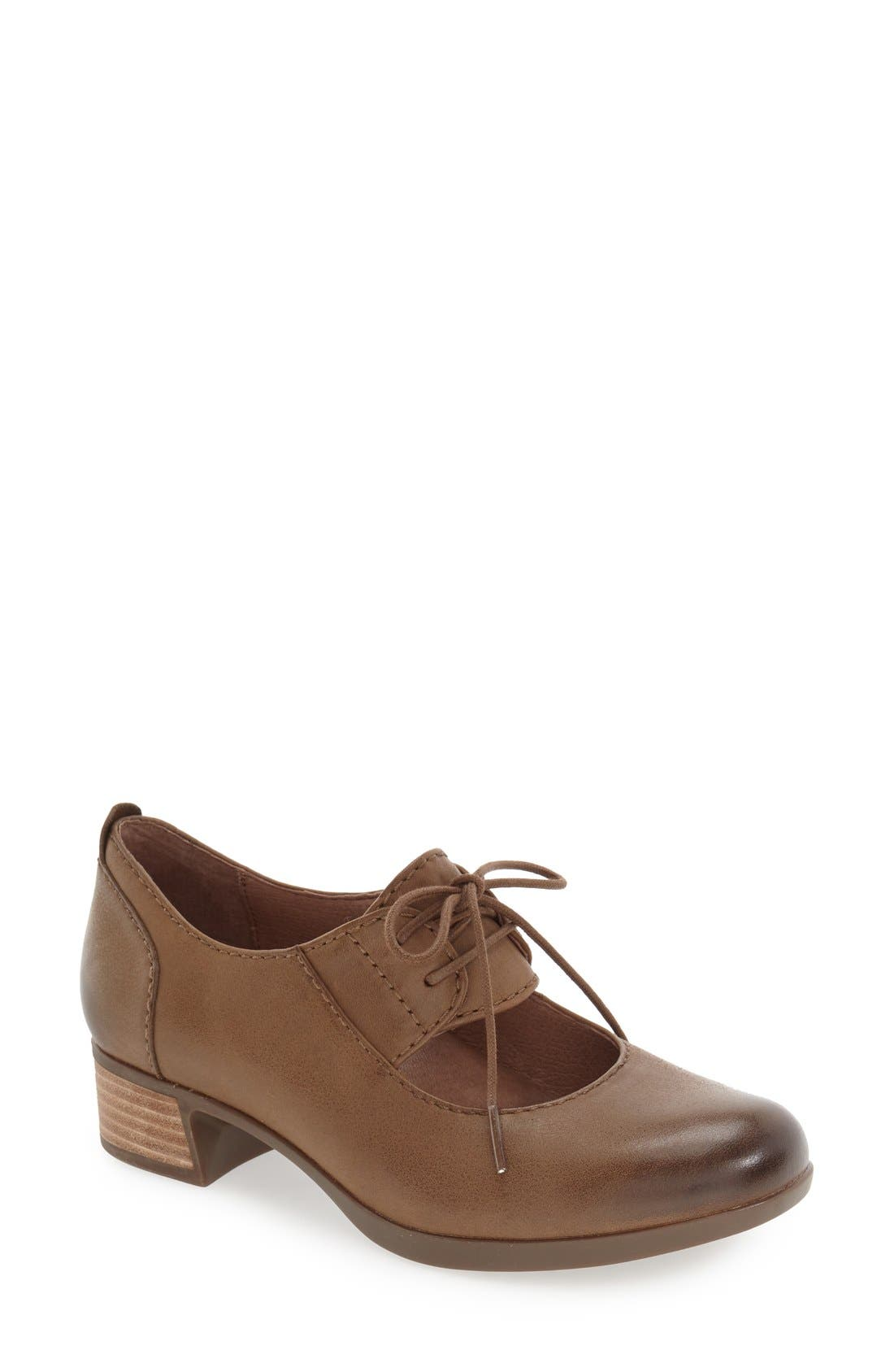 'Linda' Lace-Up Pump,                             Main thumbnail 1, color,                             Taupe Burnished Leather