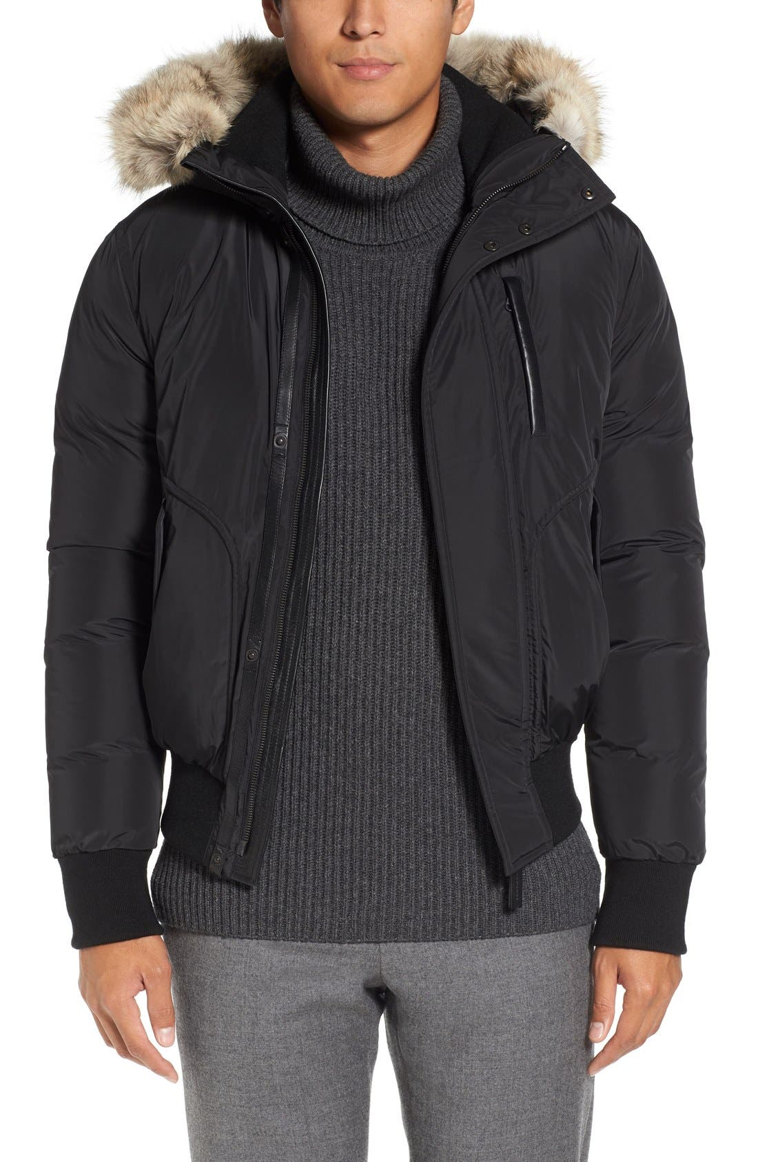 MACKAGE Florian Down Bomber Jacket with Genuine Coyote Fur Trim