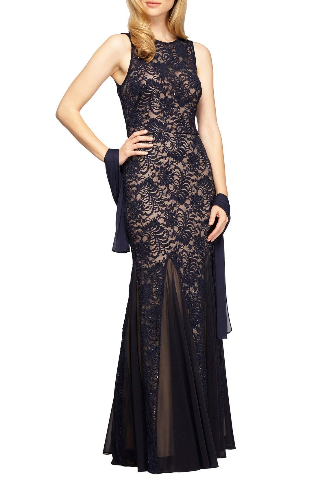 Main Image - Alex Evenings Sequin Lace Mermaid Gown & Shawl (Regular & Petite)