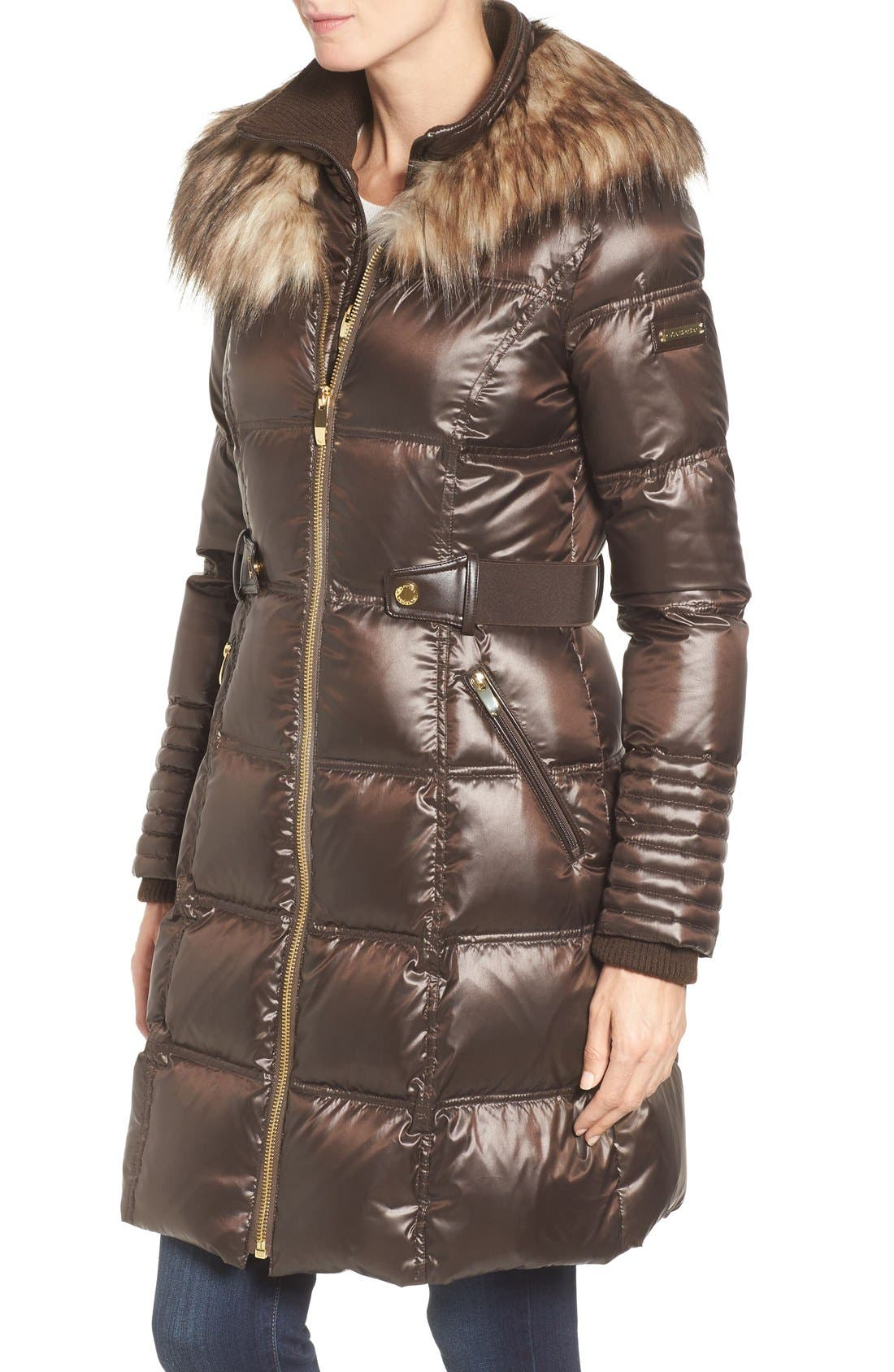 Quilted Coat with Faux Fur Trim,                             Alternate thumbnail 3, color,                             Brown