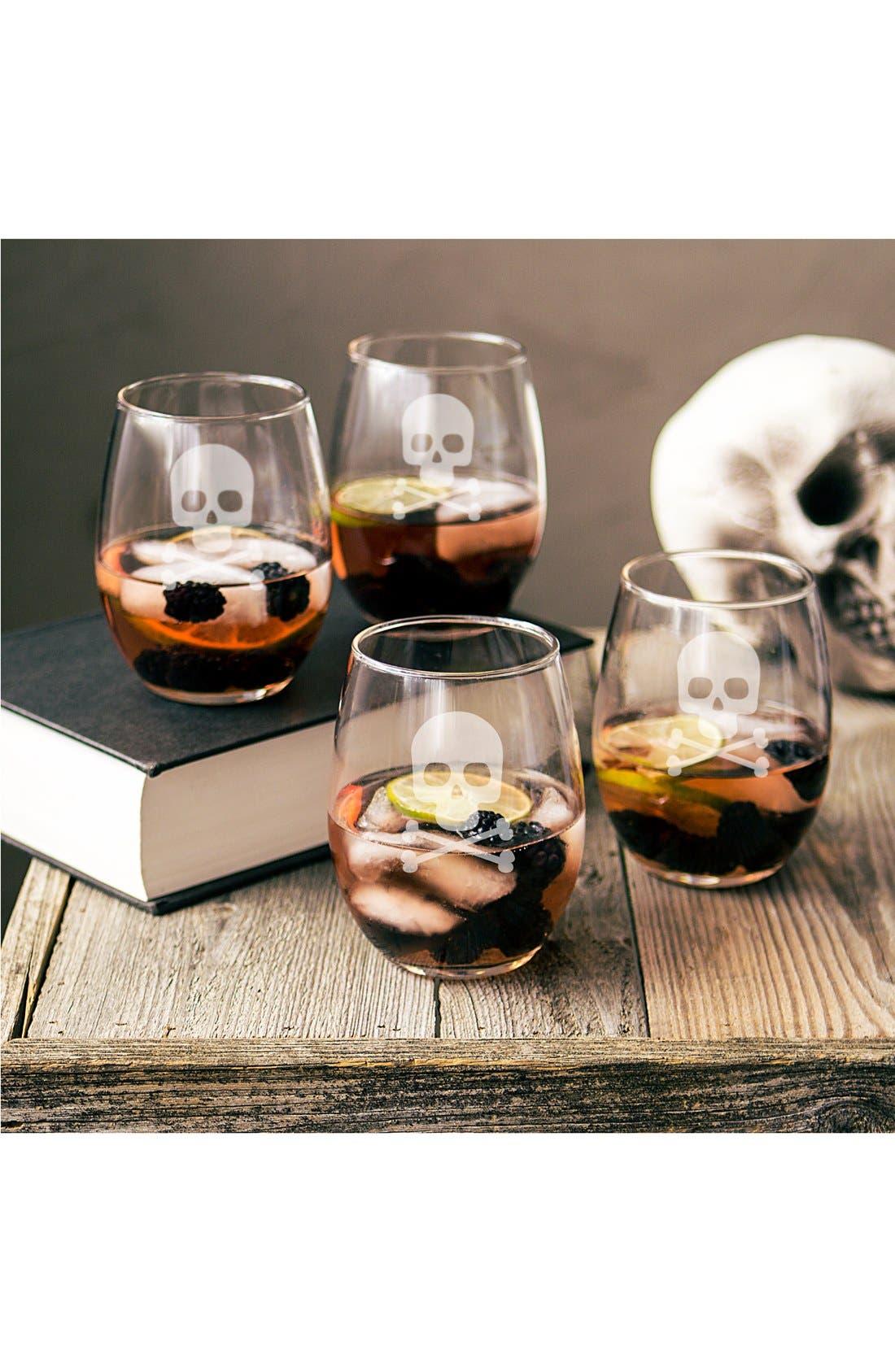 Skull & Crossbones Set of 4 Stemless Wine Glasses,                             Main thumbnail 1, color,                             Clear