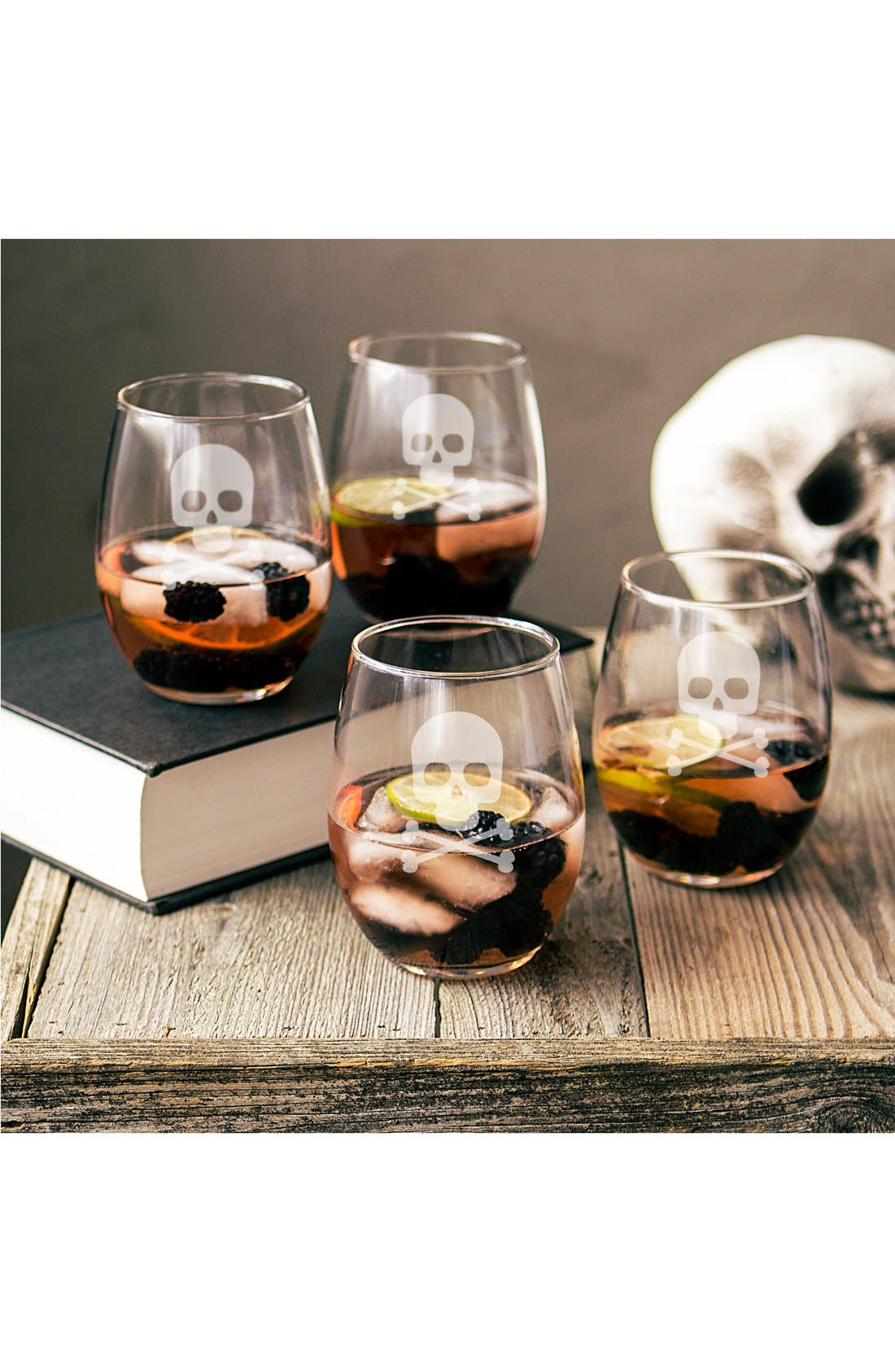 Skull & Crossbones Set of 4 Stemless Wine Glasses,                         Main,                         color, Clear