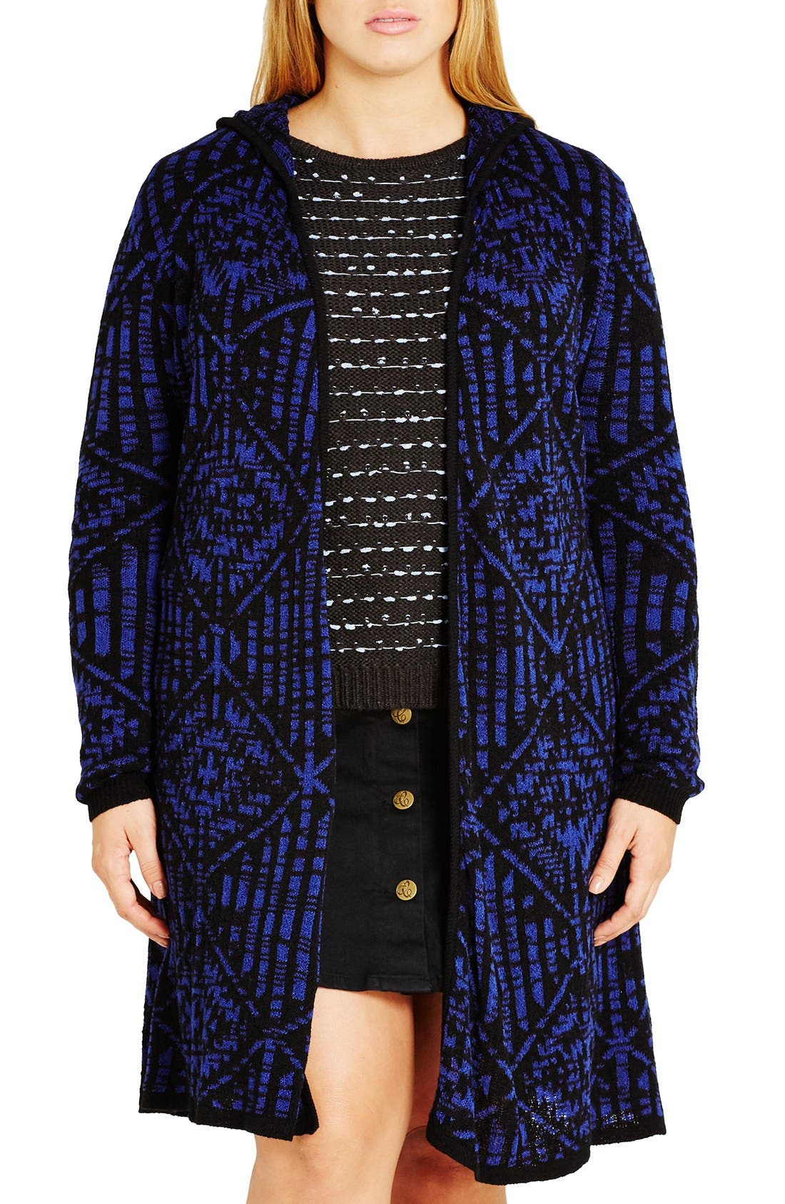 Main Image - City Chic Geo Pattern Hooded Cardigan (Plus Size)
