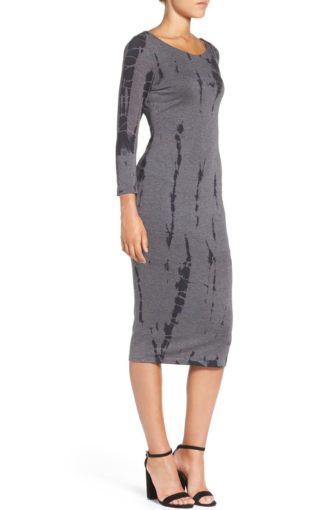 Cutout Back Tie Dye Body-Con Dress,                             Alternate thumbnail 4, color,                             Charcoal Ink