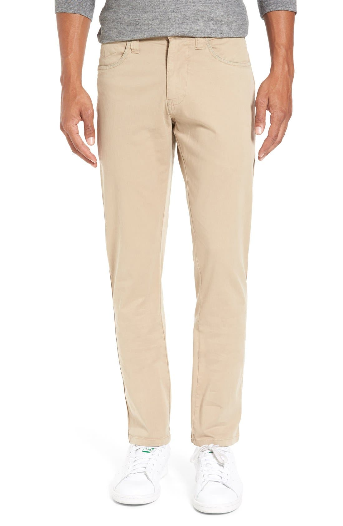 'Sunny' Slim Fit Stretch Twill Pants,                             Main thumbnail 1, color,                             Khaki