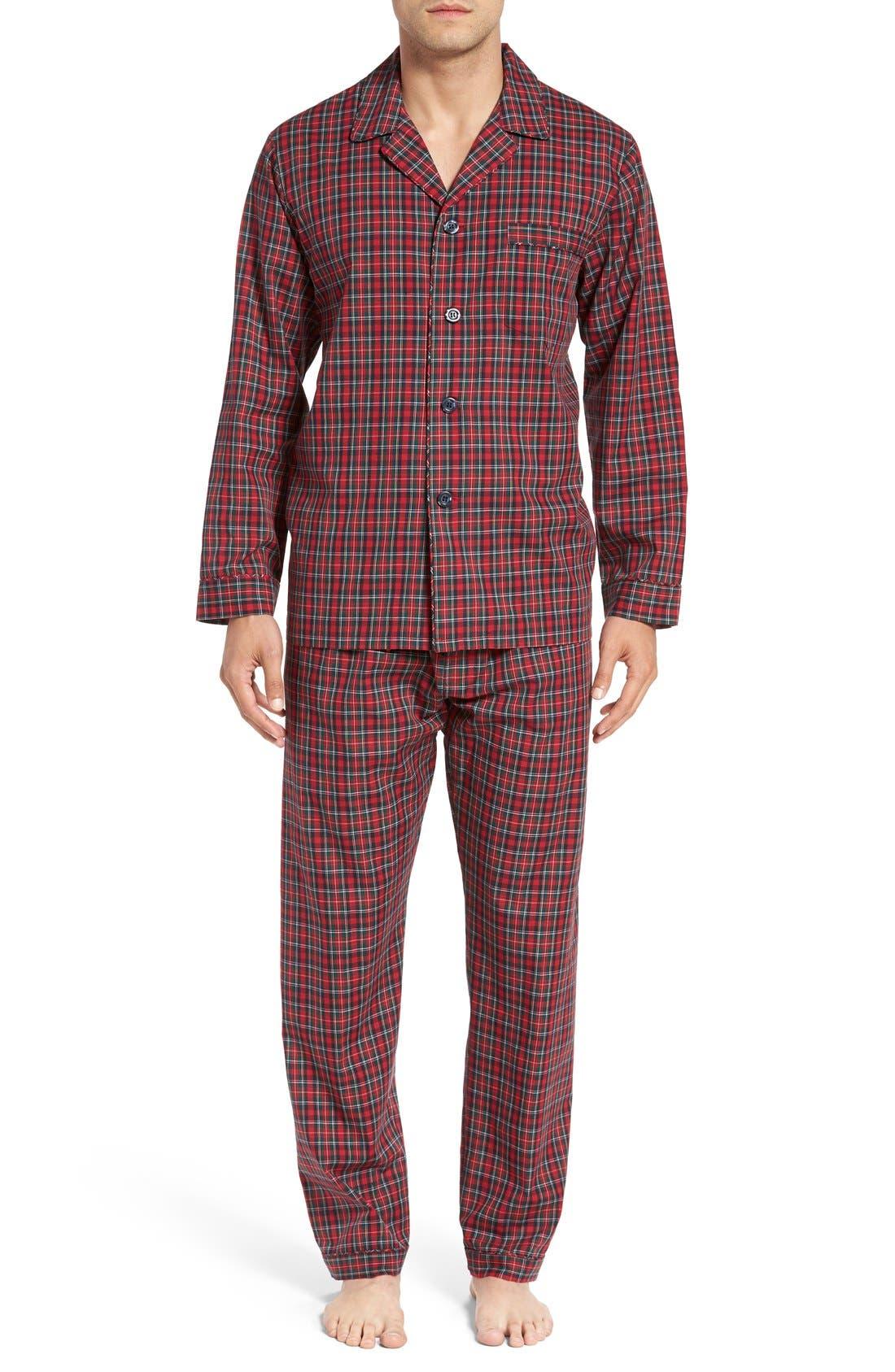 'CVC' Cotton Blend Pajamas,                             Main thumbnail 1, color,                             Holiday Red