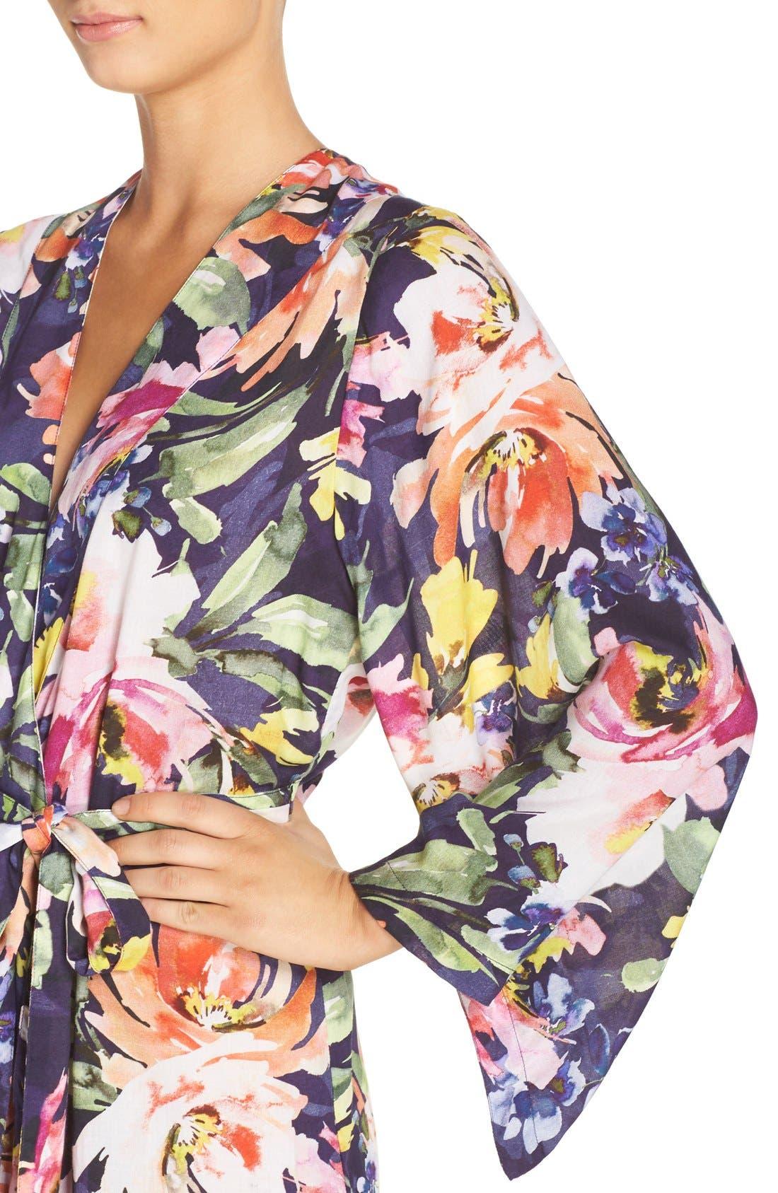 Floral Print Kimono Robe,                             Alternate thumbnail 4, color,                             Zephyr