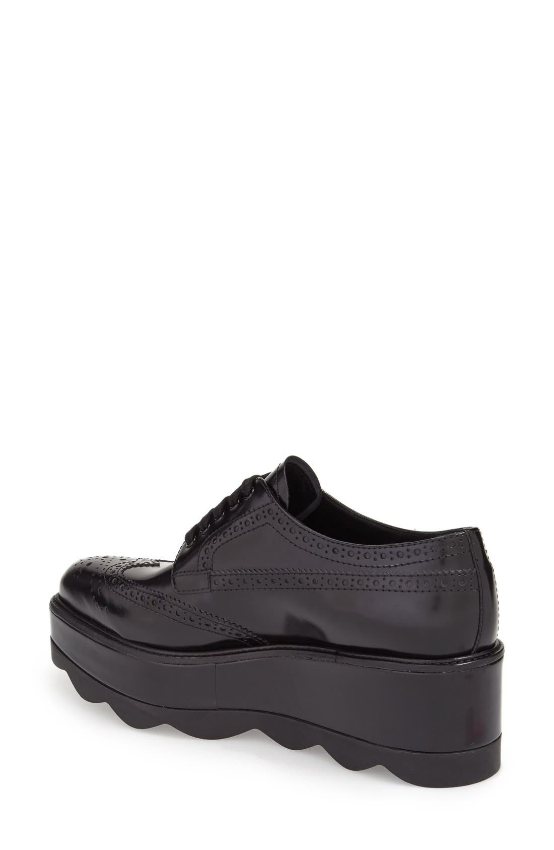 Scalloped Platform Oxford,                             Alternate thumbnail 2, color,                             Black