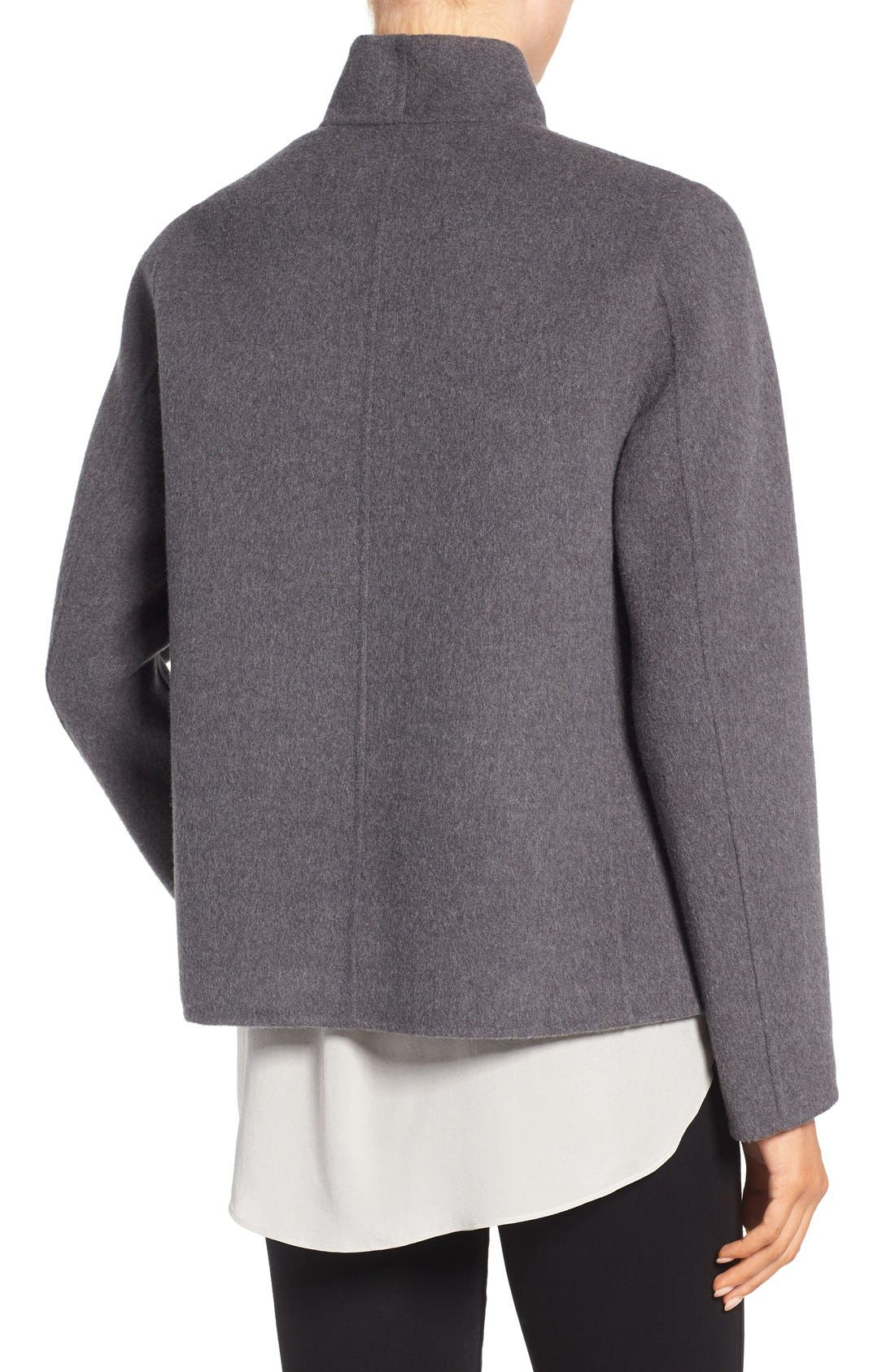 Alternate Image 2  - Eileen Fisher Brushed Wool Blend Double Face High Collar Coat
