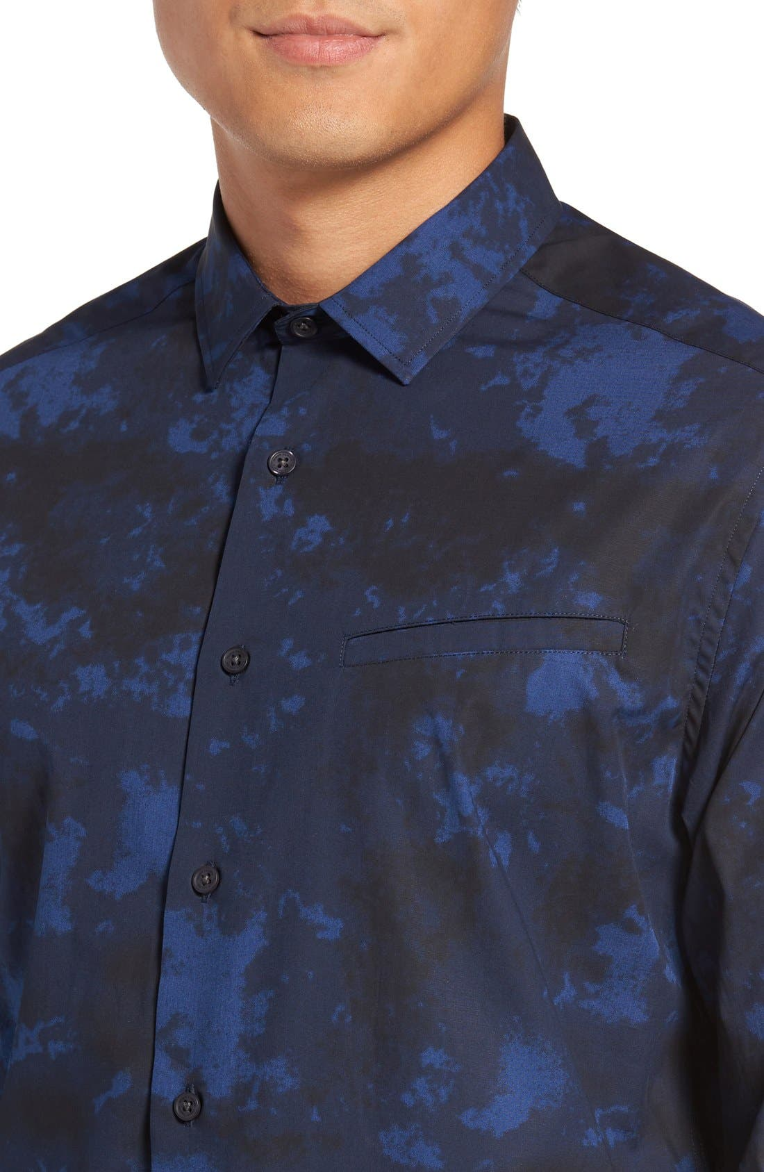 Slim Fit Sport Shirt,                             Alternate thumbnail 4, color,                             Navy/ Black Dyed Print