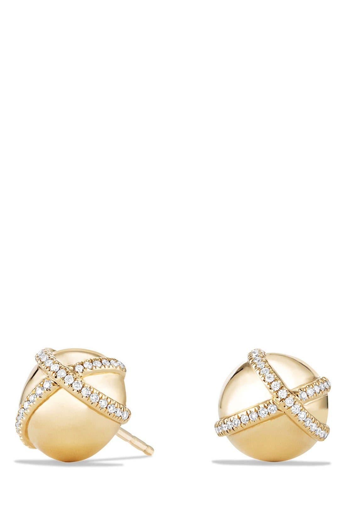 david yurman wrap stud earrings with pav diamonds in 18k gold