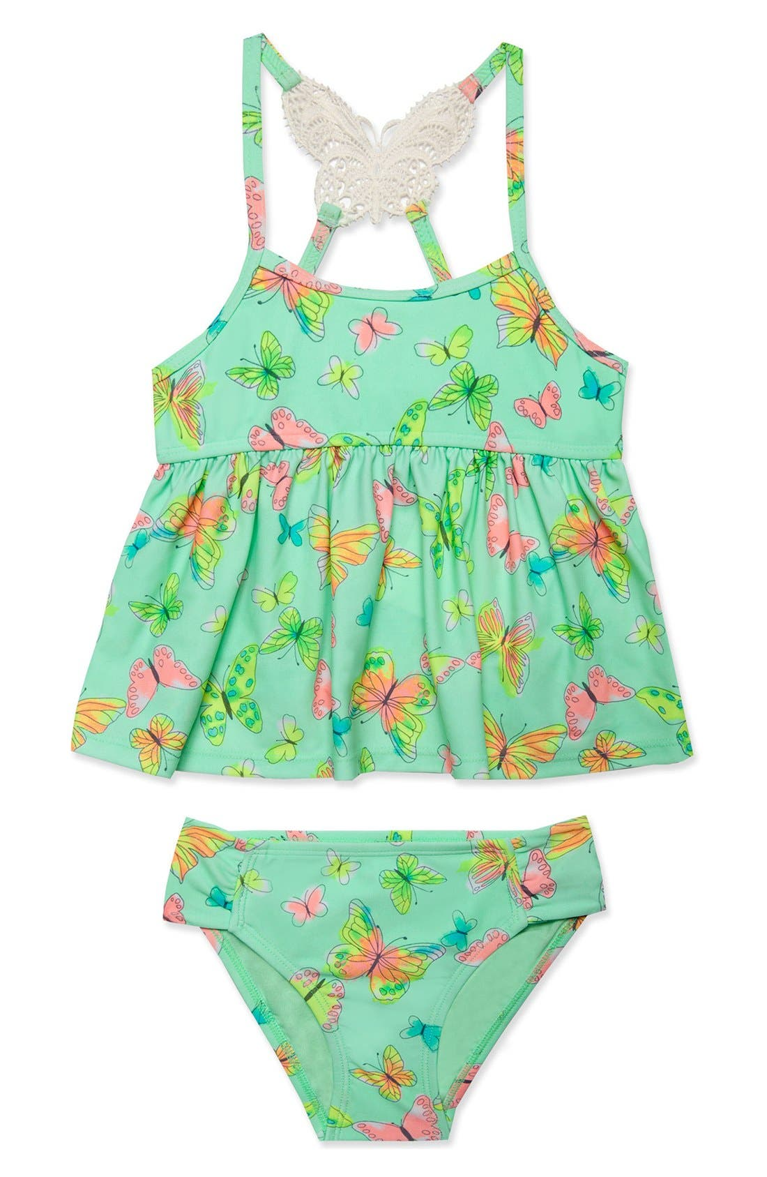 'Butterfly' Two-Piece Tankini Swimsuit,                         Main,                         color, Mint