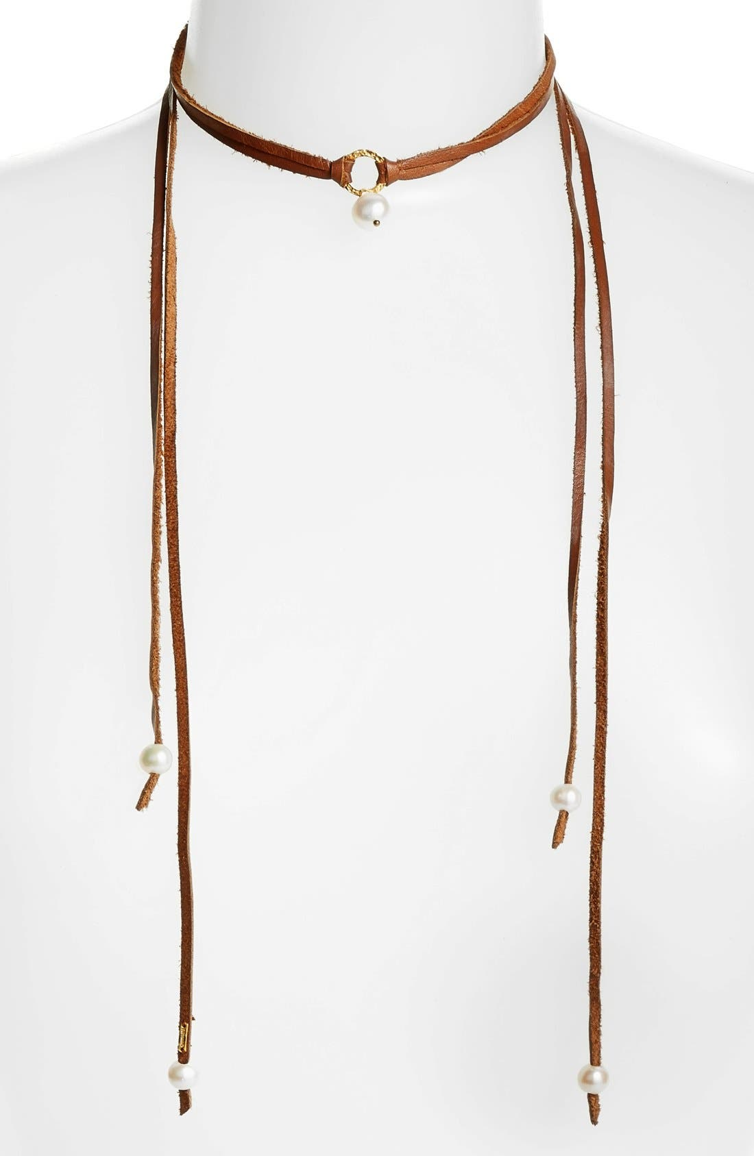 Pearl & Leather Wrap Necklace,                         Main,                         color, White/Saddle