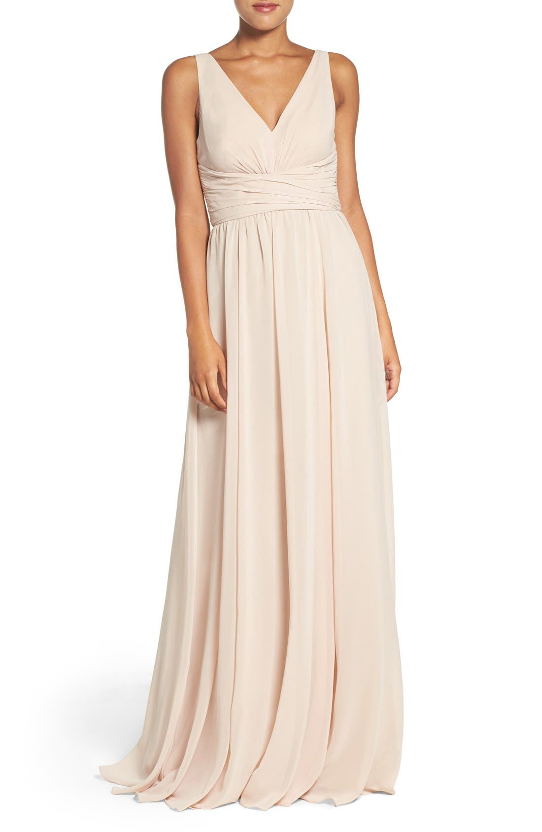 'Justine' Double V-Neck Chiffon Gown,                         Main,                         color, Fawn