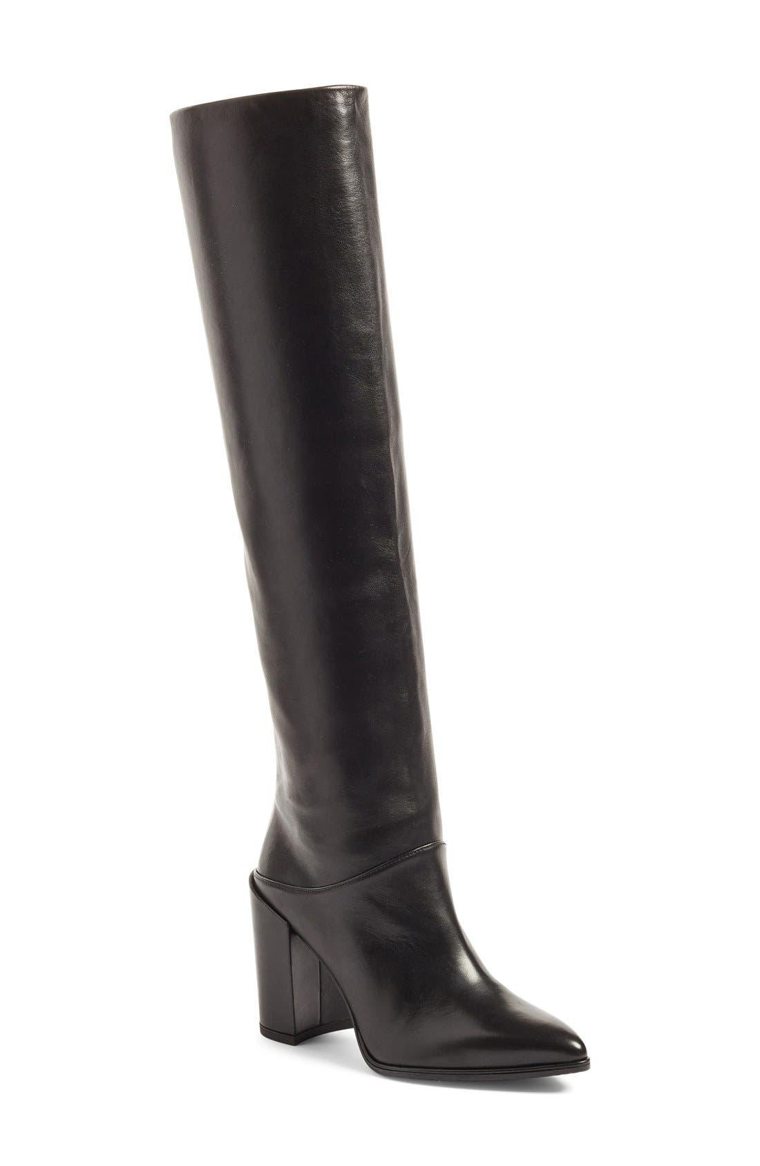Alternate Image 1 Selected - Stuart Weitzman Scrunchy Leather Knee High Boot (Women)
