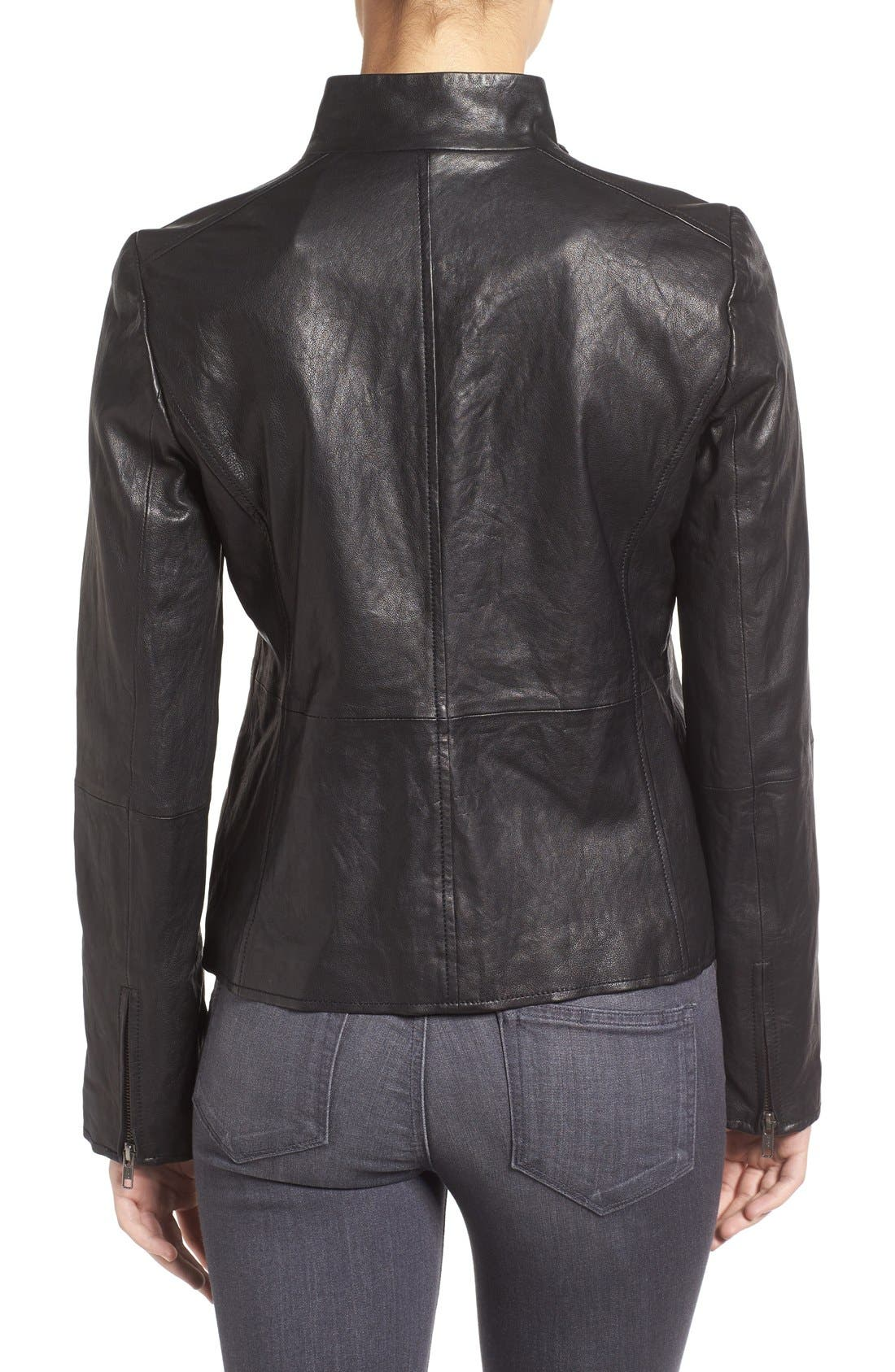 Rumpled Luxe Leather Stand Collar Jacket,                             Alternate thumbnail 2, color,                             Black