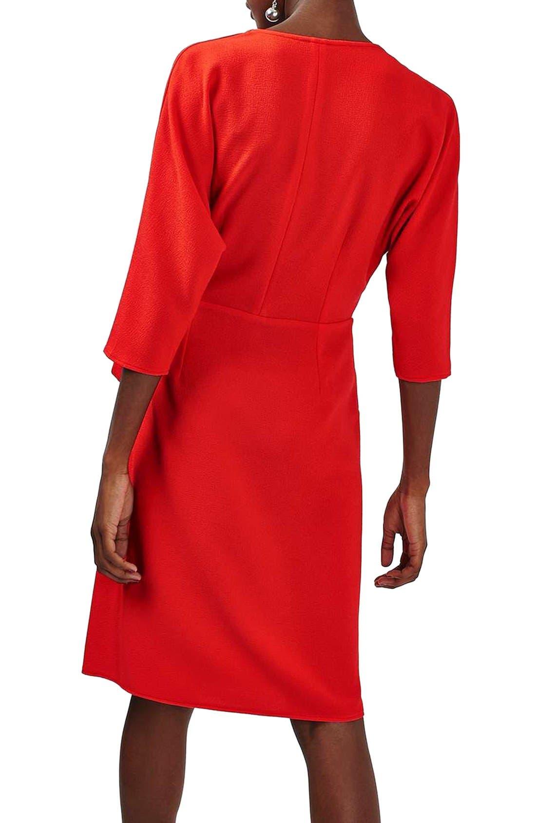 Dolman Sleeve Wrap Midi Dress,                             Alternate thumbnail 2, color,                             Red