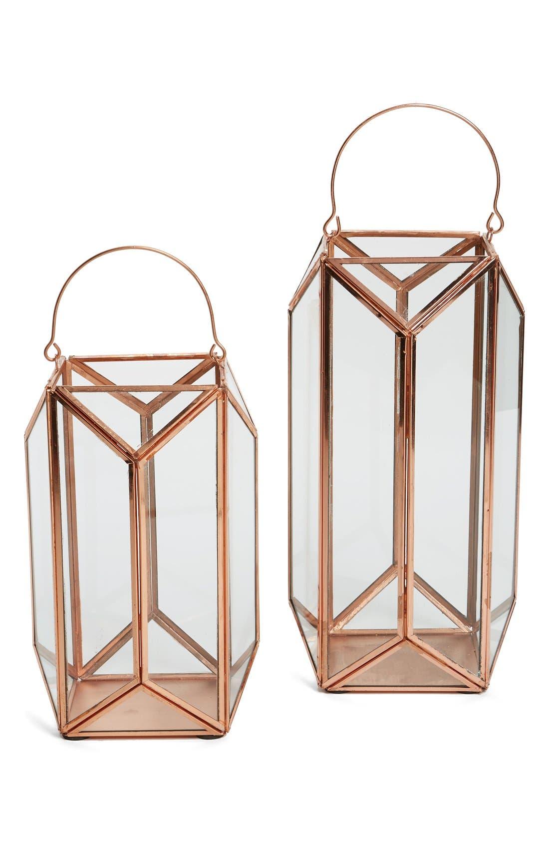 Alternate Image 1 Selected - Shiraleah 'Scala' Copper & Glass Lantern