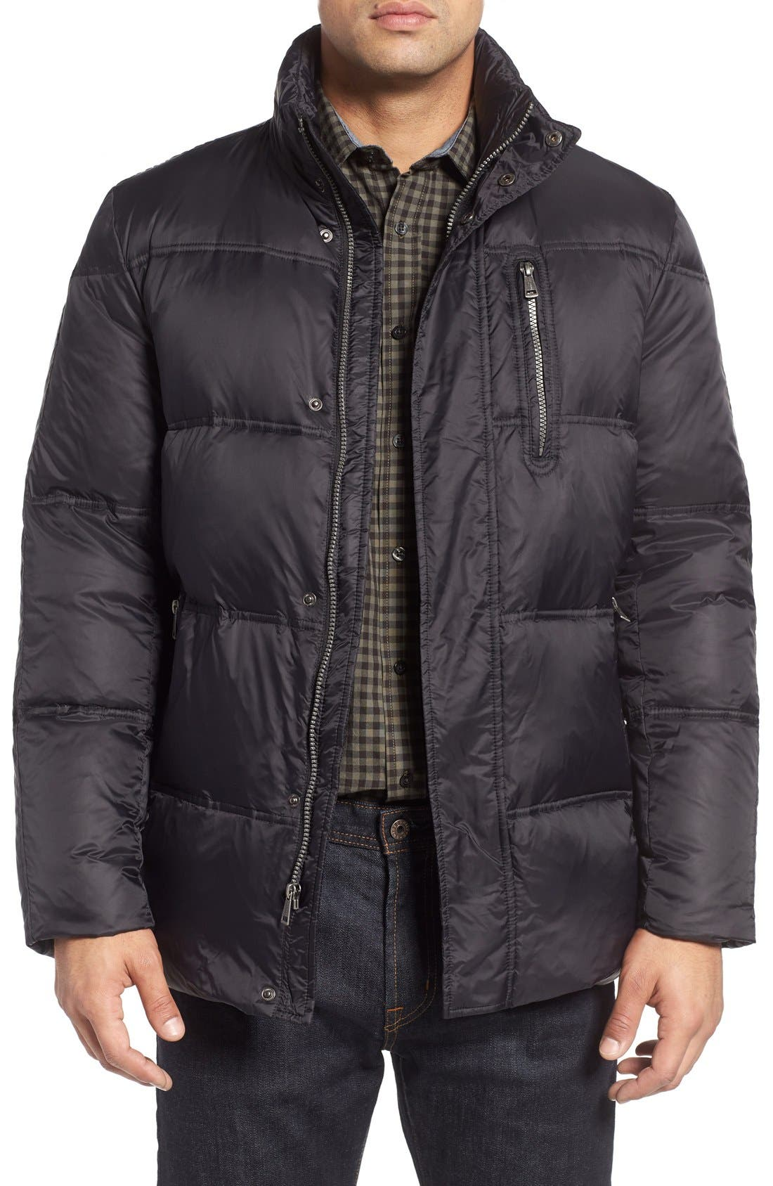 Quilted Jacket with Convertible Neck Pillow,                             Main thumbnail 1, color,                             Black
