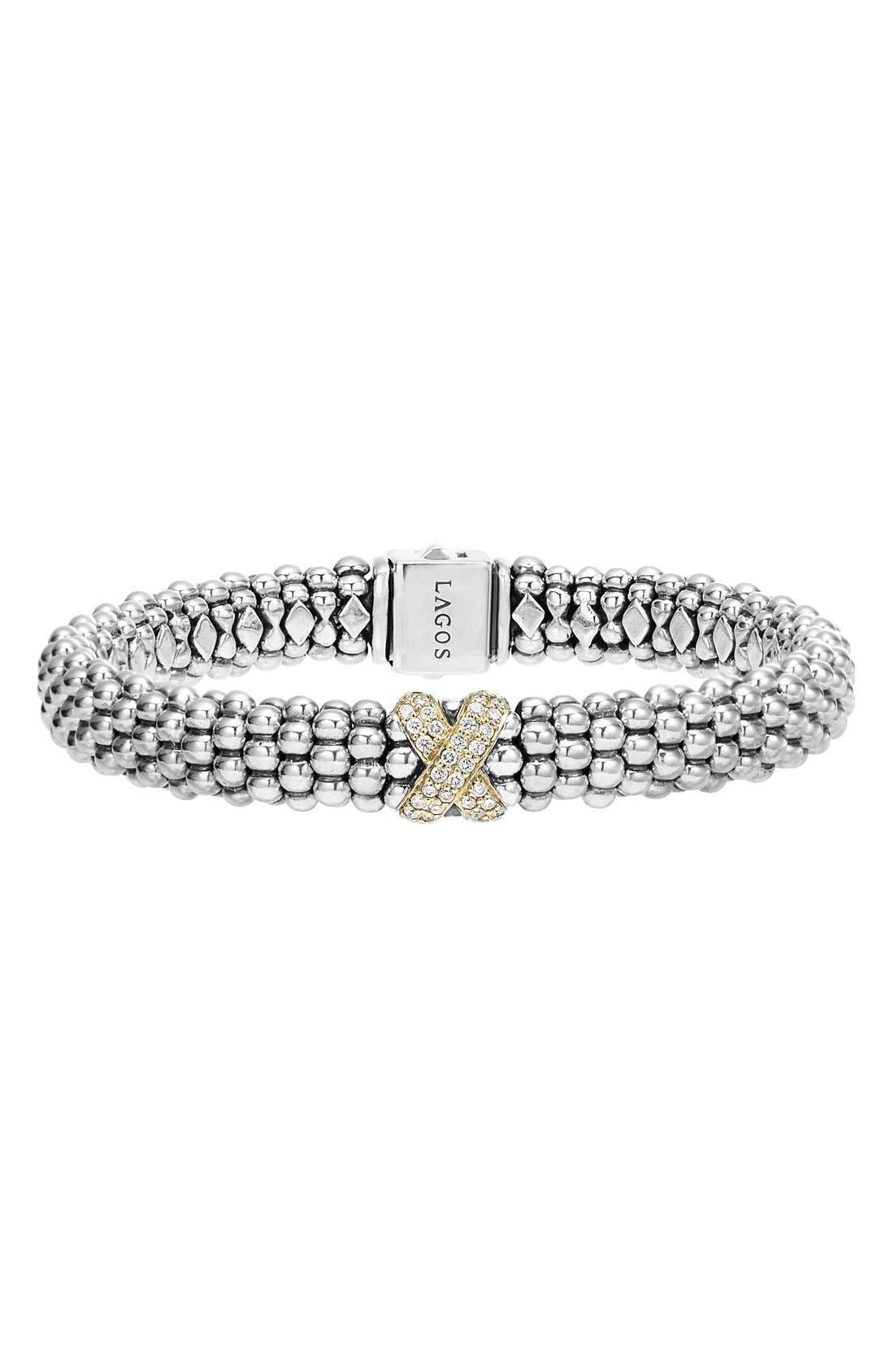 'Caviar' Gold Diamond Rope Bracelet,                         Main,                         color, Silver/ Gold