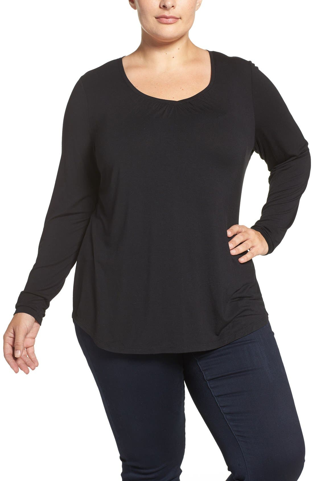 Sejour Sweetheart Neck Long Sleeve Tee (Plus Size)