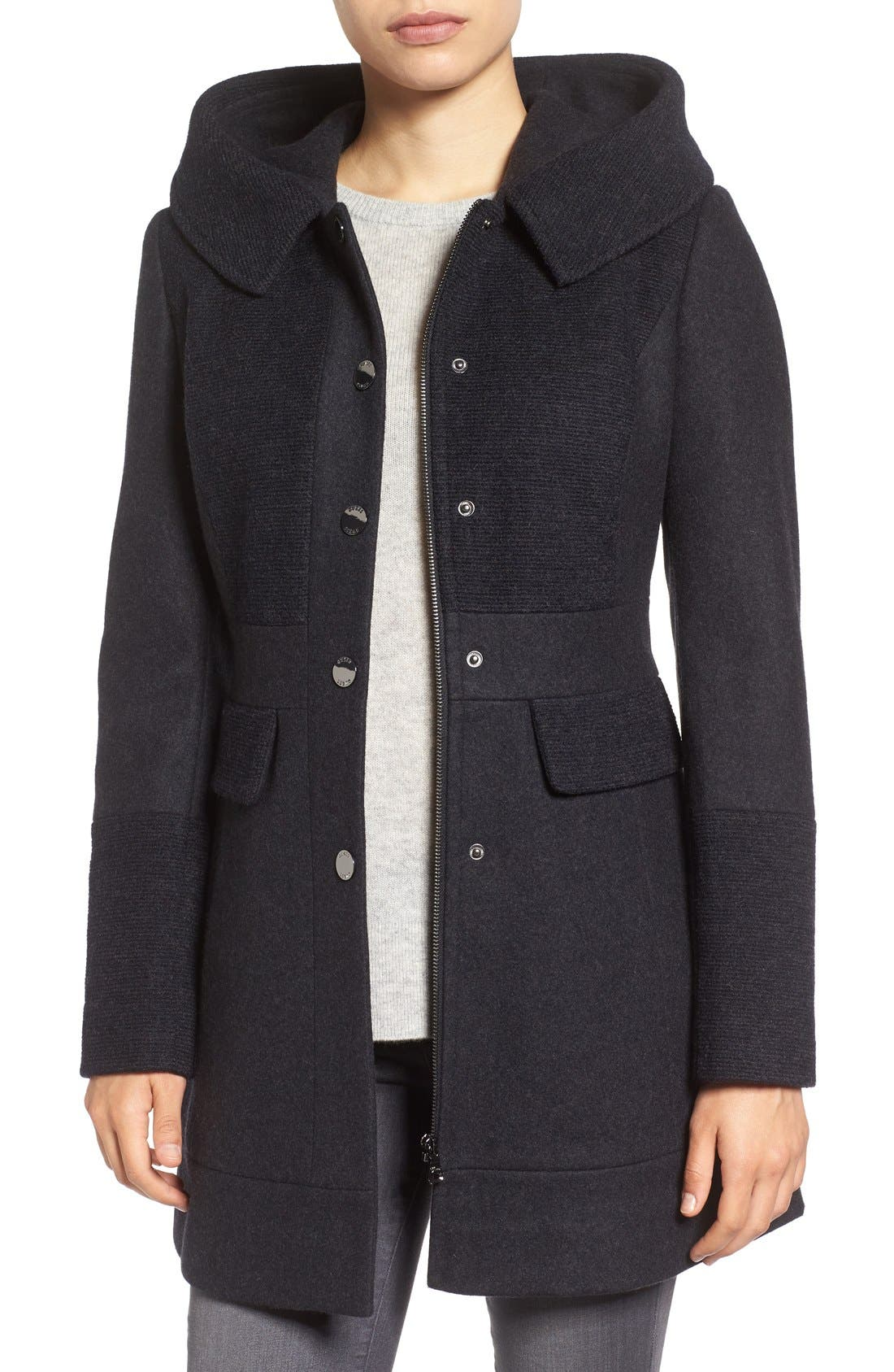 GUESS Wool Blend Hooded Coat