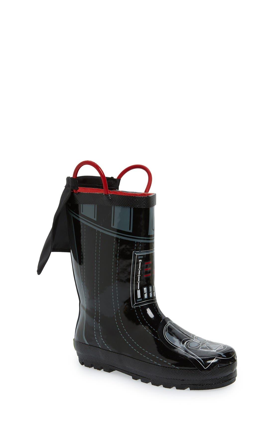 'Star Wars<sup>™</sup> - Darth Vader' Waterproof Rain Boot,                             Main thumbnail 1, color,                             Black