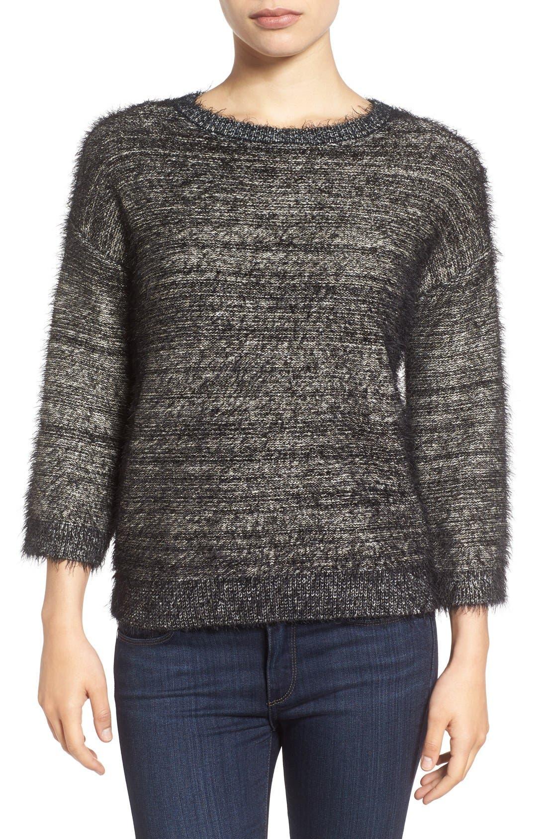 Alternate Image 1 Selected - Halogen® Metallic Eyelash Knit Sweater