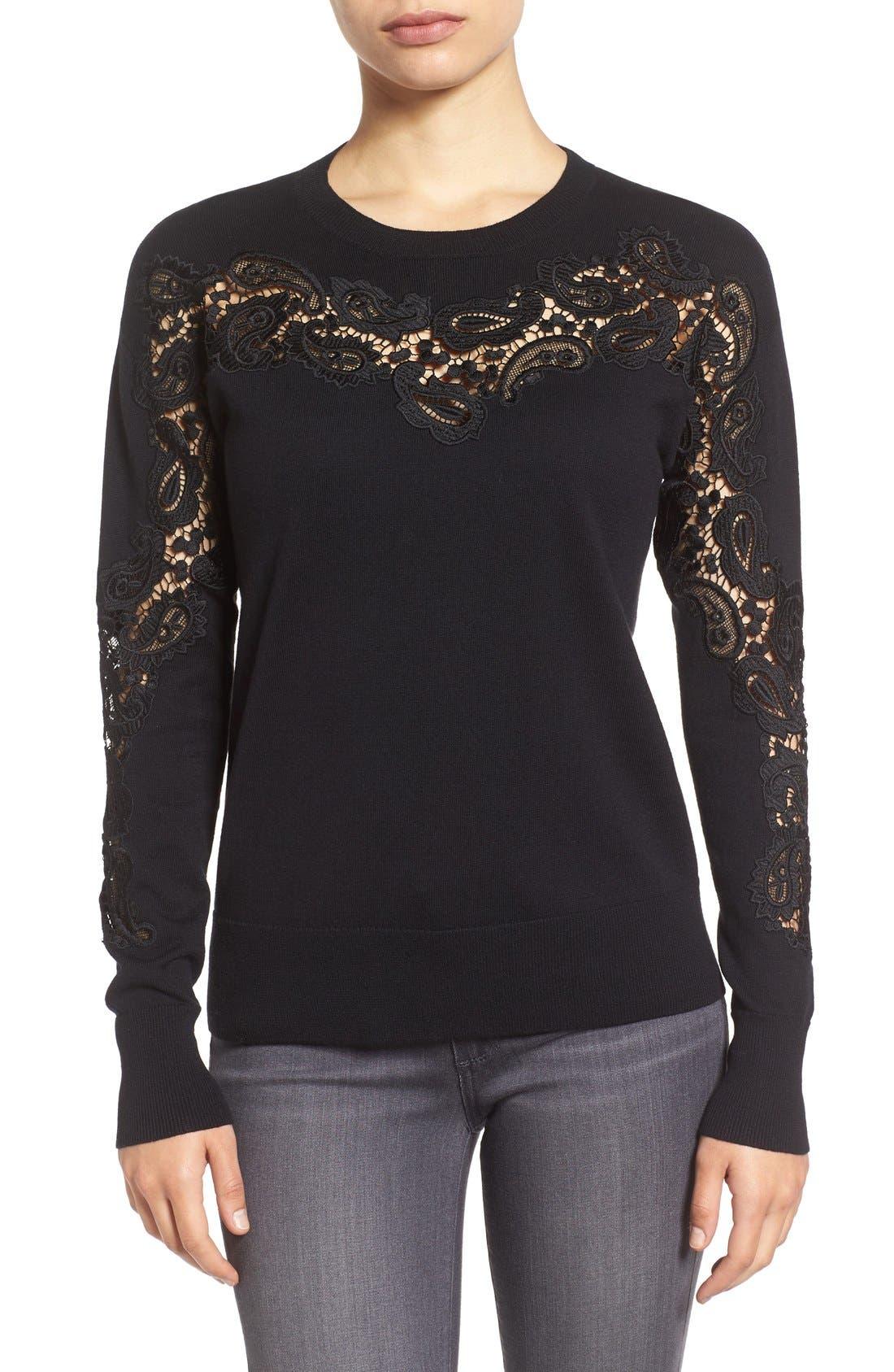 Main Image - Halogen® Lace Inset Sweater (Regular & Petite)