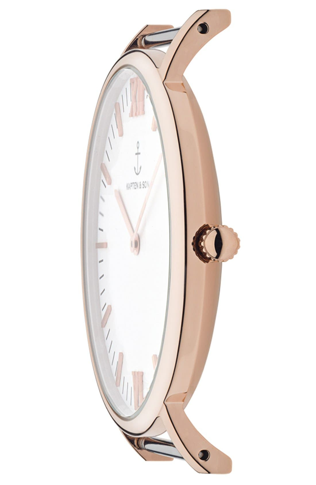 Campus Leather Strap Watch, 40mm,                             Alternate thumbnail 2, color,                             Brown/ White/ Rosegold