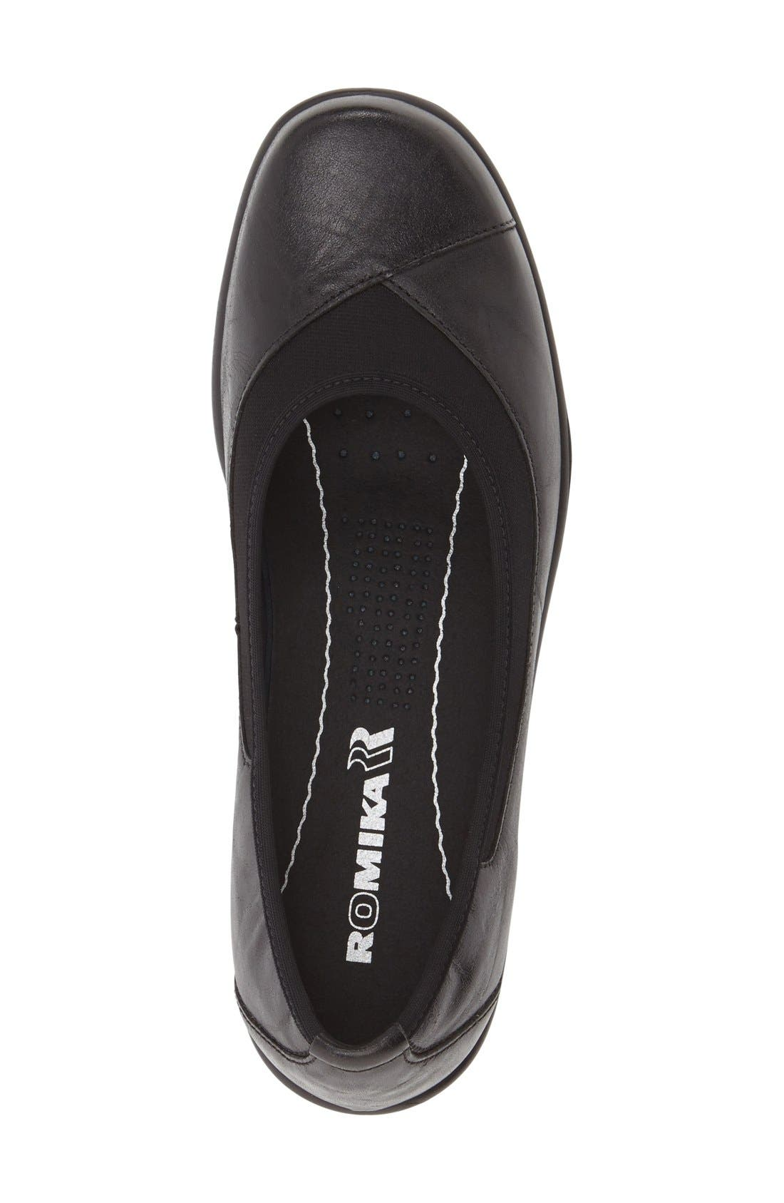 'Cassie 21' Wedge Flat,                             Alternate thumbnail 3, color,                             Black Leather