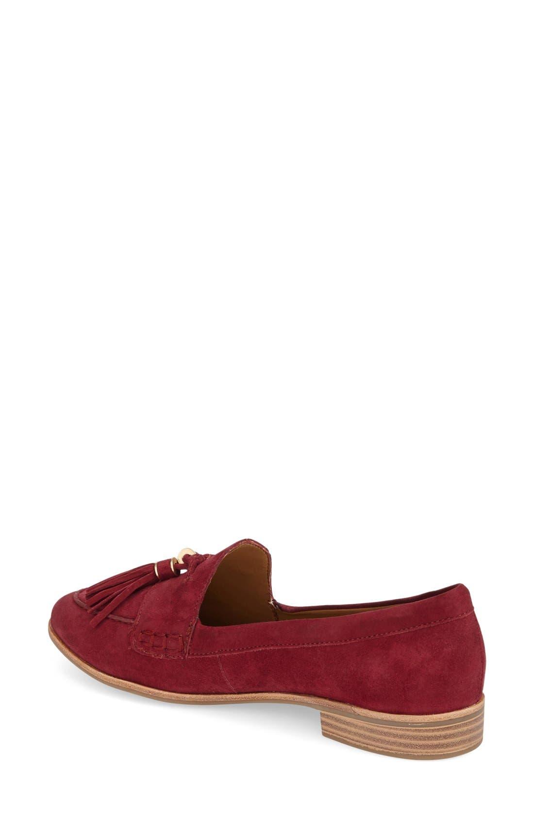 'Estelle' Tassel Loafer,                             Alternate thumbnail 2, color,                             Cherry Red Suede
