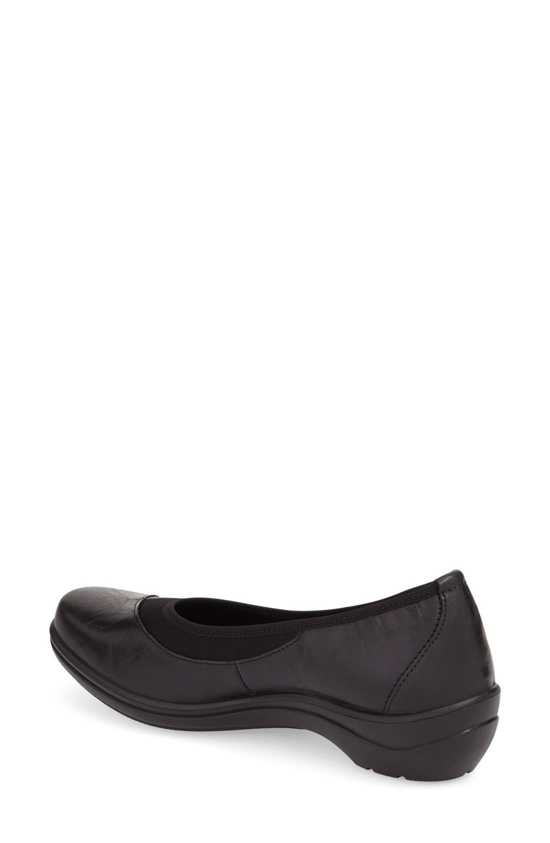 'Cassie 21' Wedge Flat,                             Alternate thumbnail 2, color,                             Black Leather
