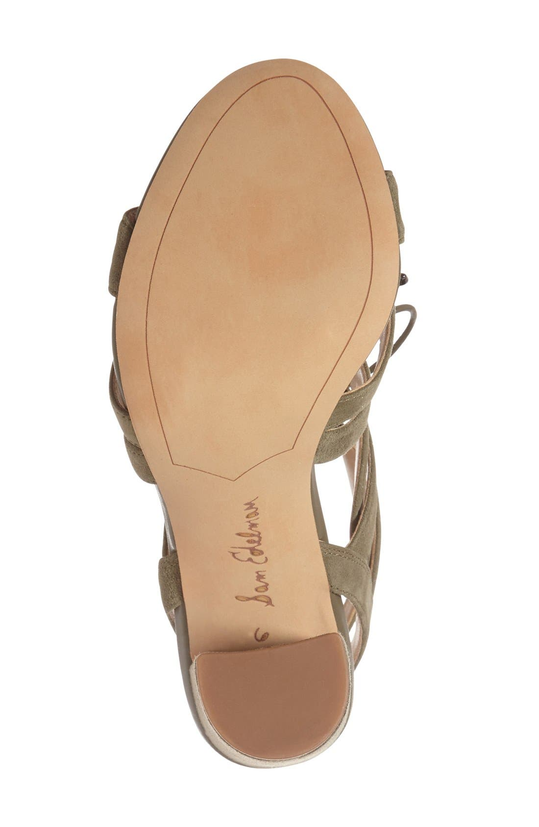 'Yardley' Lace-Up Sandal,                             Alternate thumbnail 5, color,                             Moss Green Suede Leather