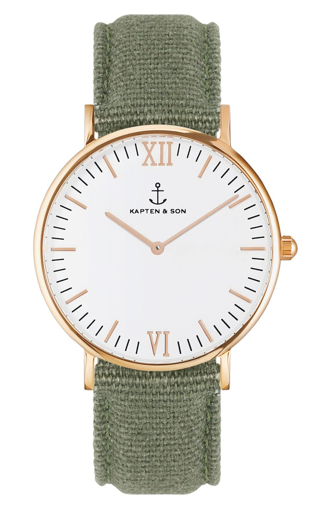 KAPTEN AND SON Campina Canvas Strap Watch, 36mm