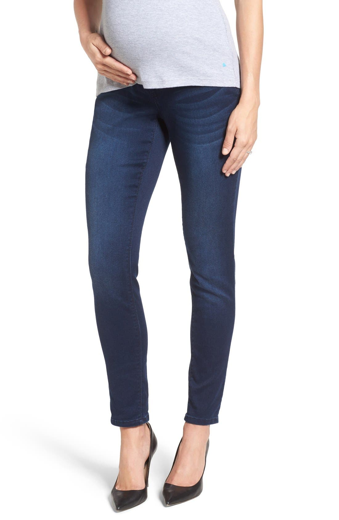 'Ankle Biter' Over the Bump Rolled Cuff Maternity Skinny Jeans,                             Main thumbnail 1, color,                             Lennox